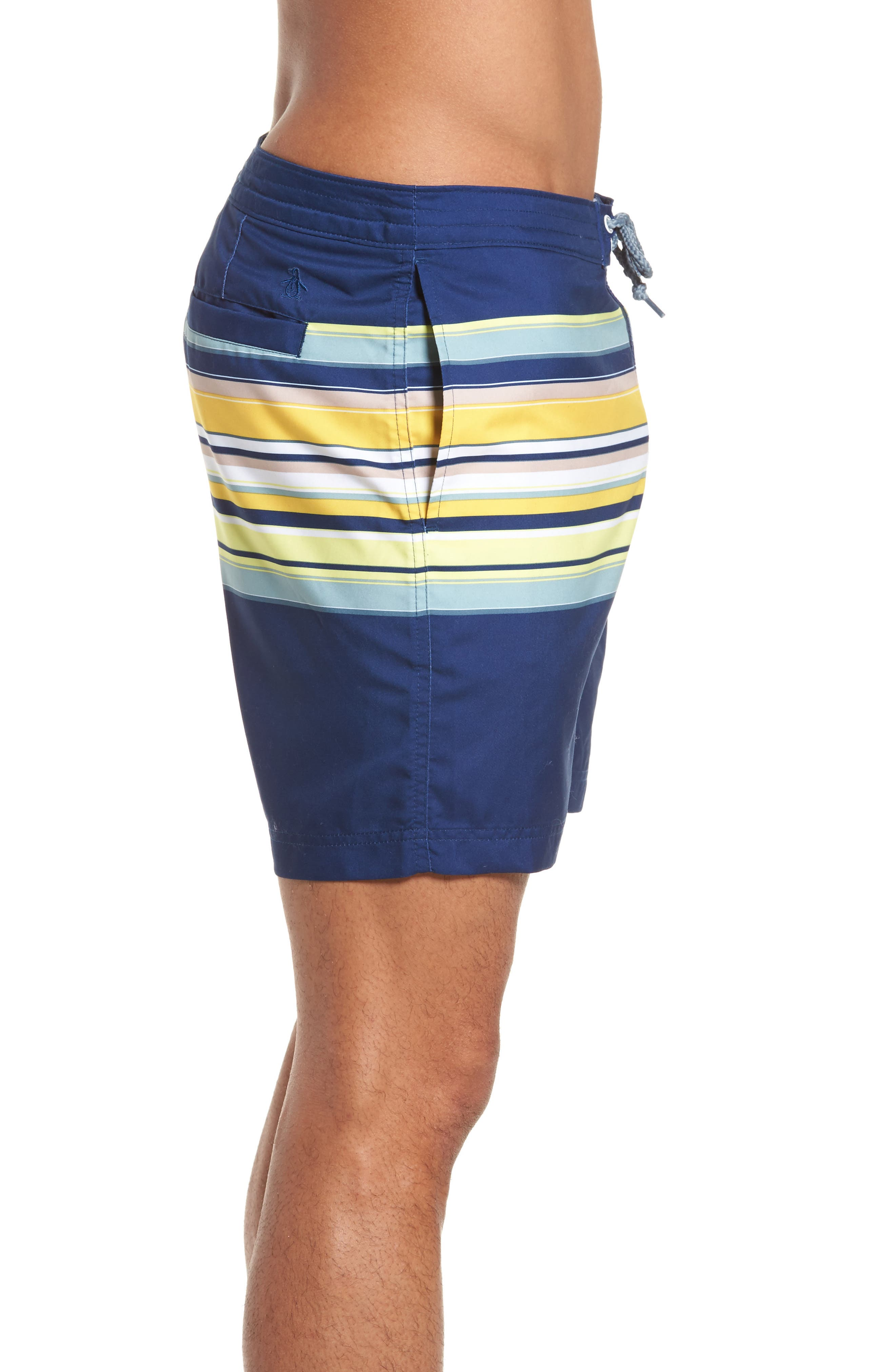 Stripe Fixed Volley Board Shorts,                             Alternate thumbnail 3, color,                             Blue Depths