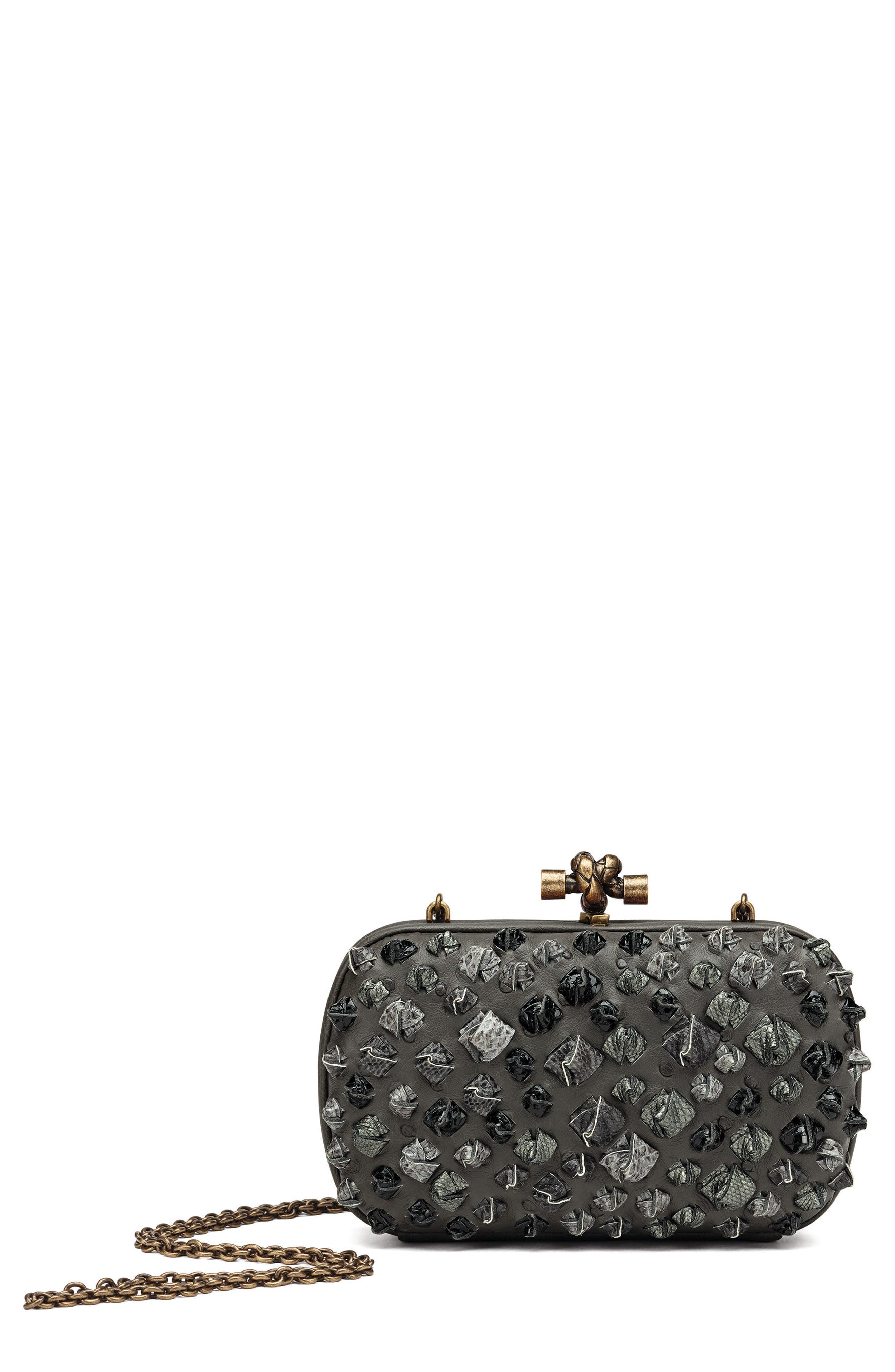 Bottega Veneta Medium Knot Ostrich & Genuine Snakeskin Shoulder Bag