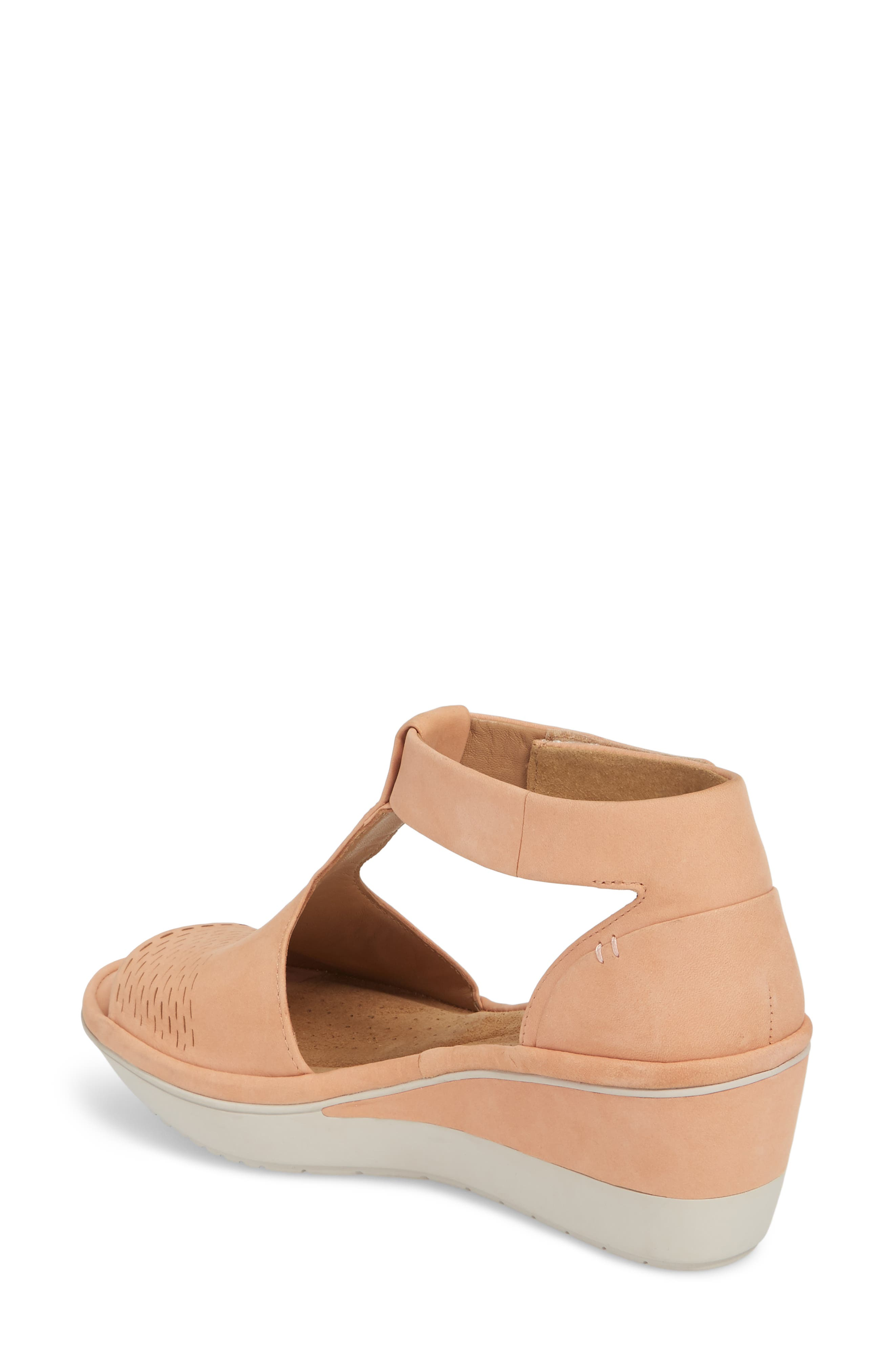 Wynnmere Avah T-Strap Wedge Sandal,                             Alternate thumbnail 2, color,                             Peach Nubuck