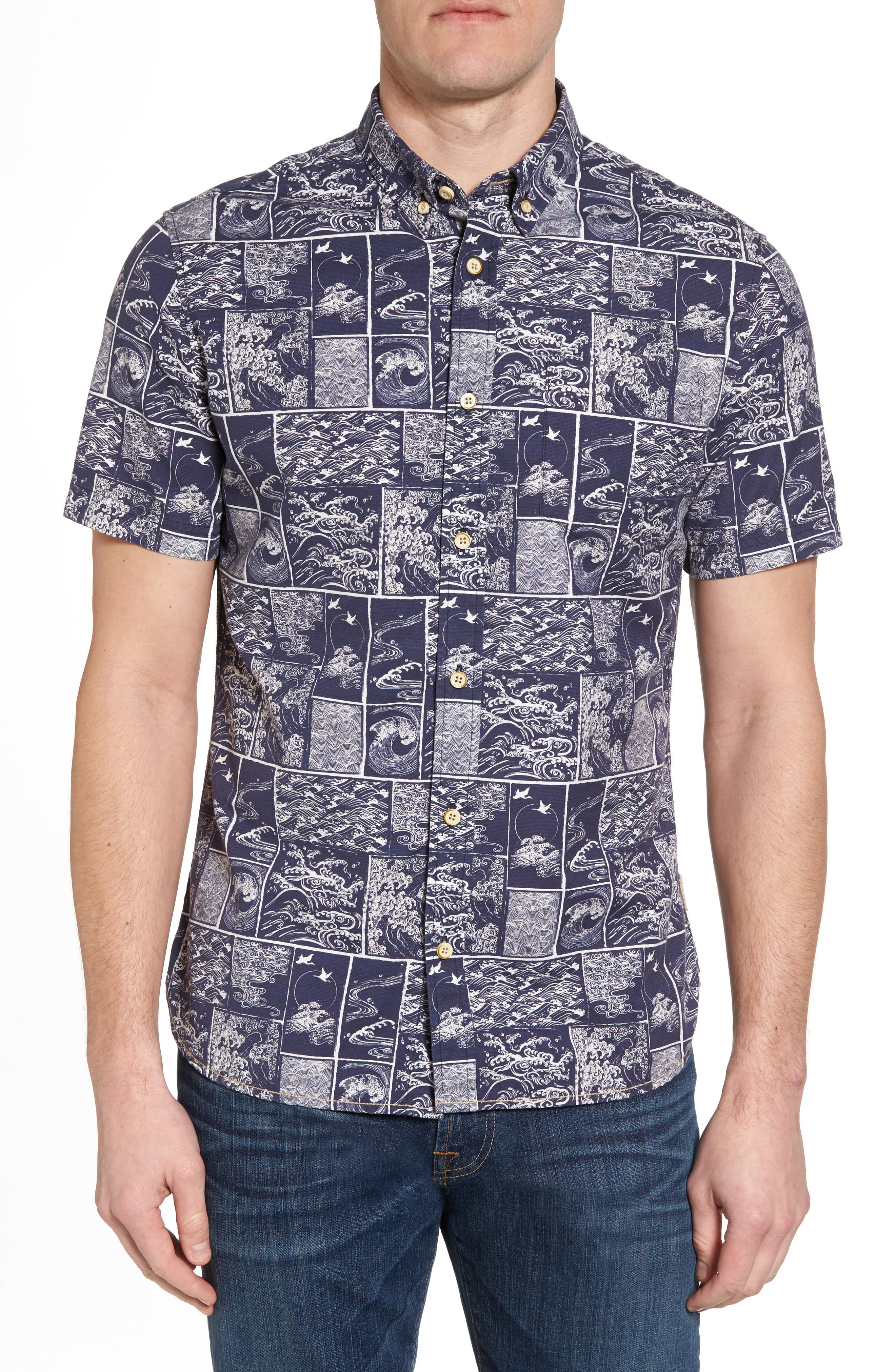 Wave Print Sport Shirt,                             Main thumbnail 1, color,                             Navy/ White