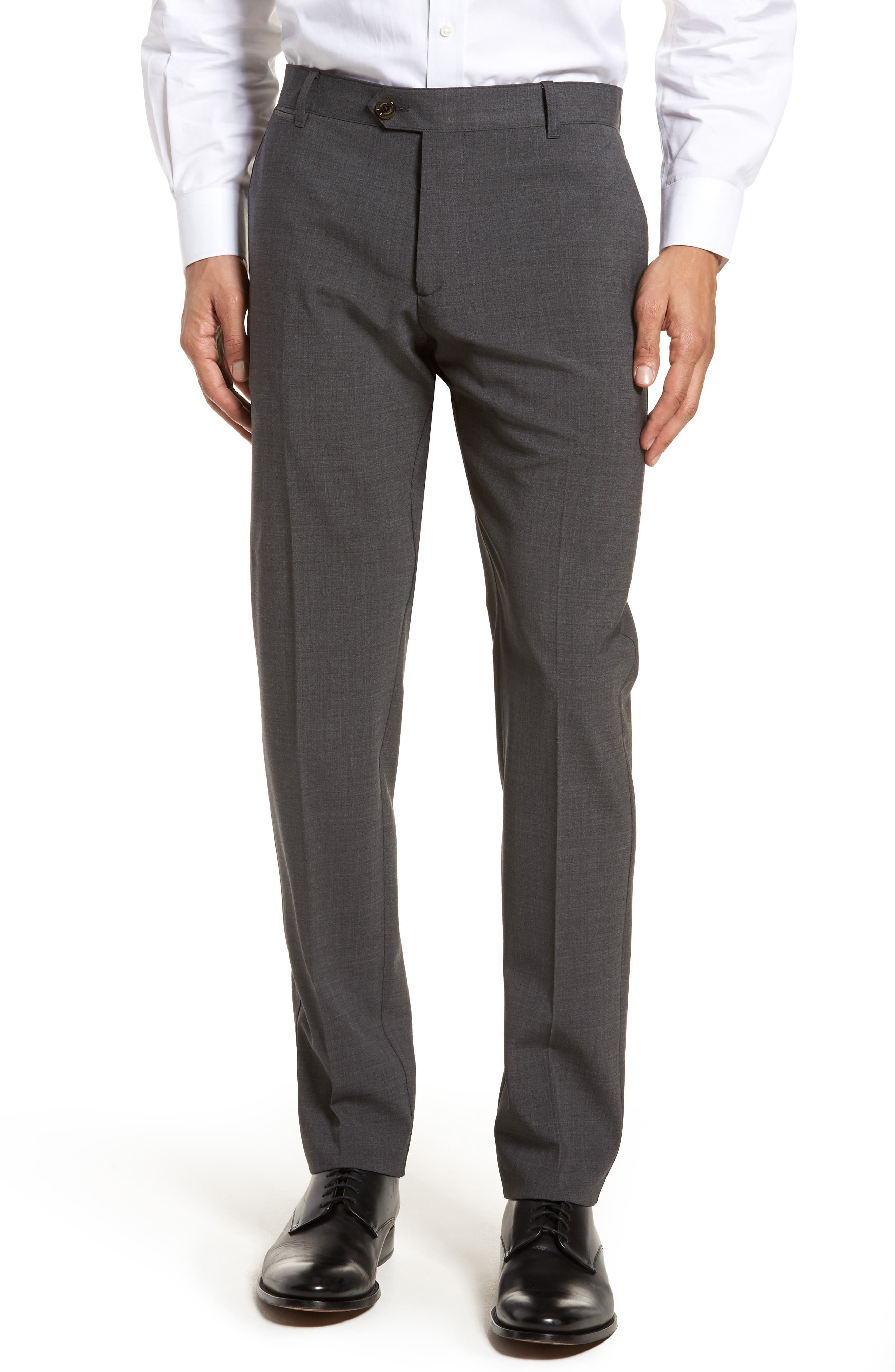 Eleventy Flat Front Stretch Solid Wool Trousers
