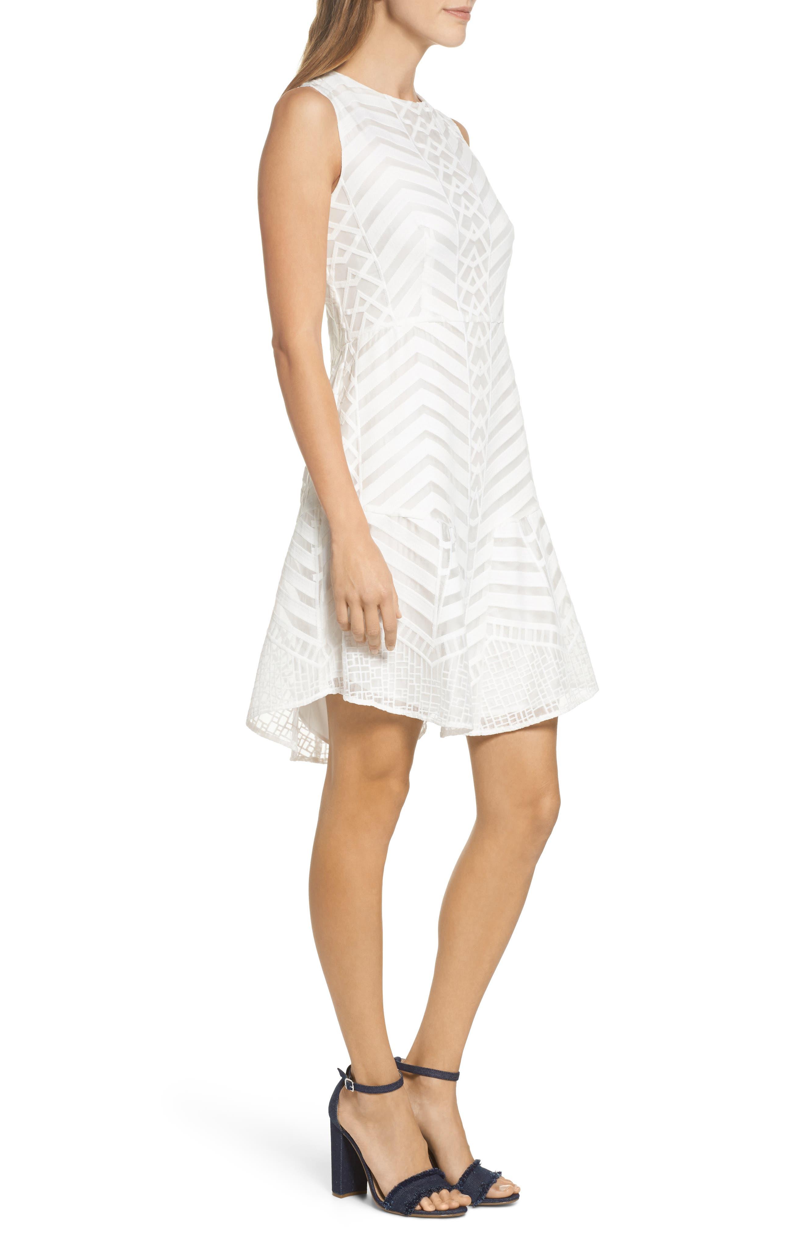 Fit & Flare Dress,                             Alternate thumbnail 3, color,                             White Snow