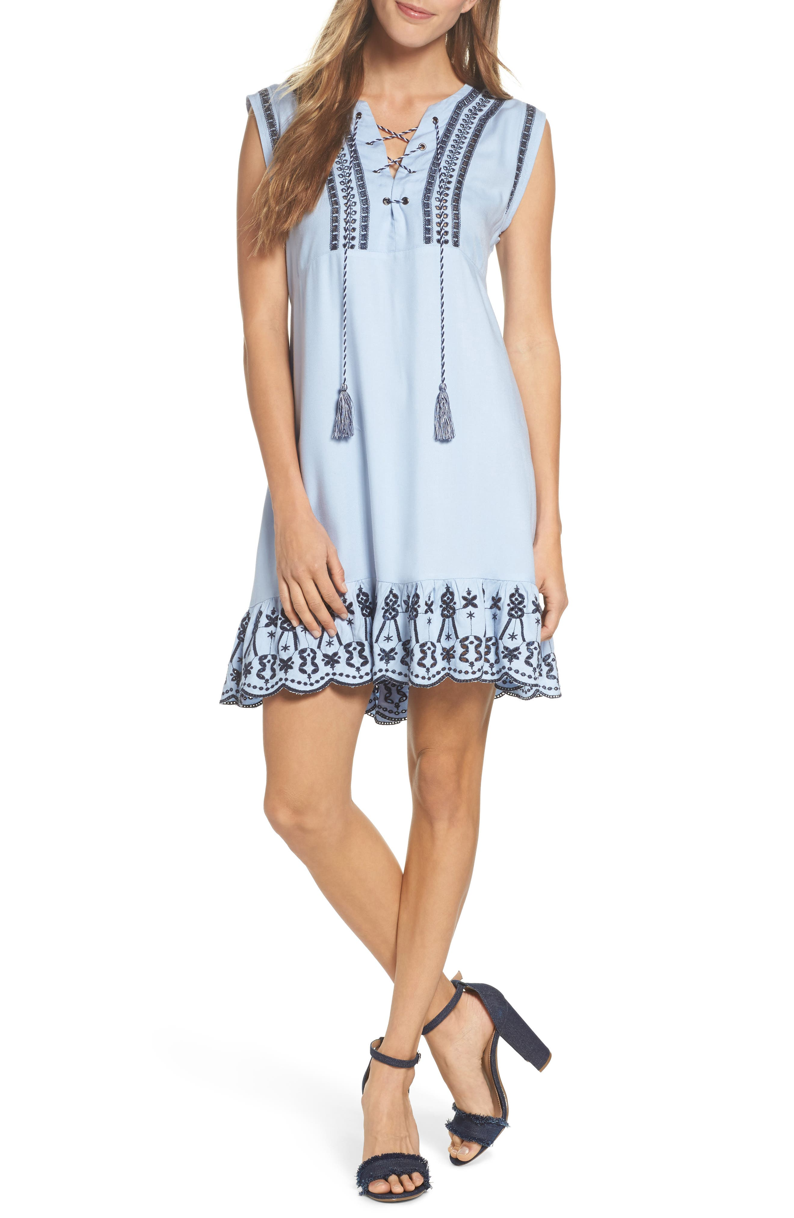 Embroidered Lace-Up Dress,                         Main,                         color, Cyanide