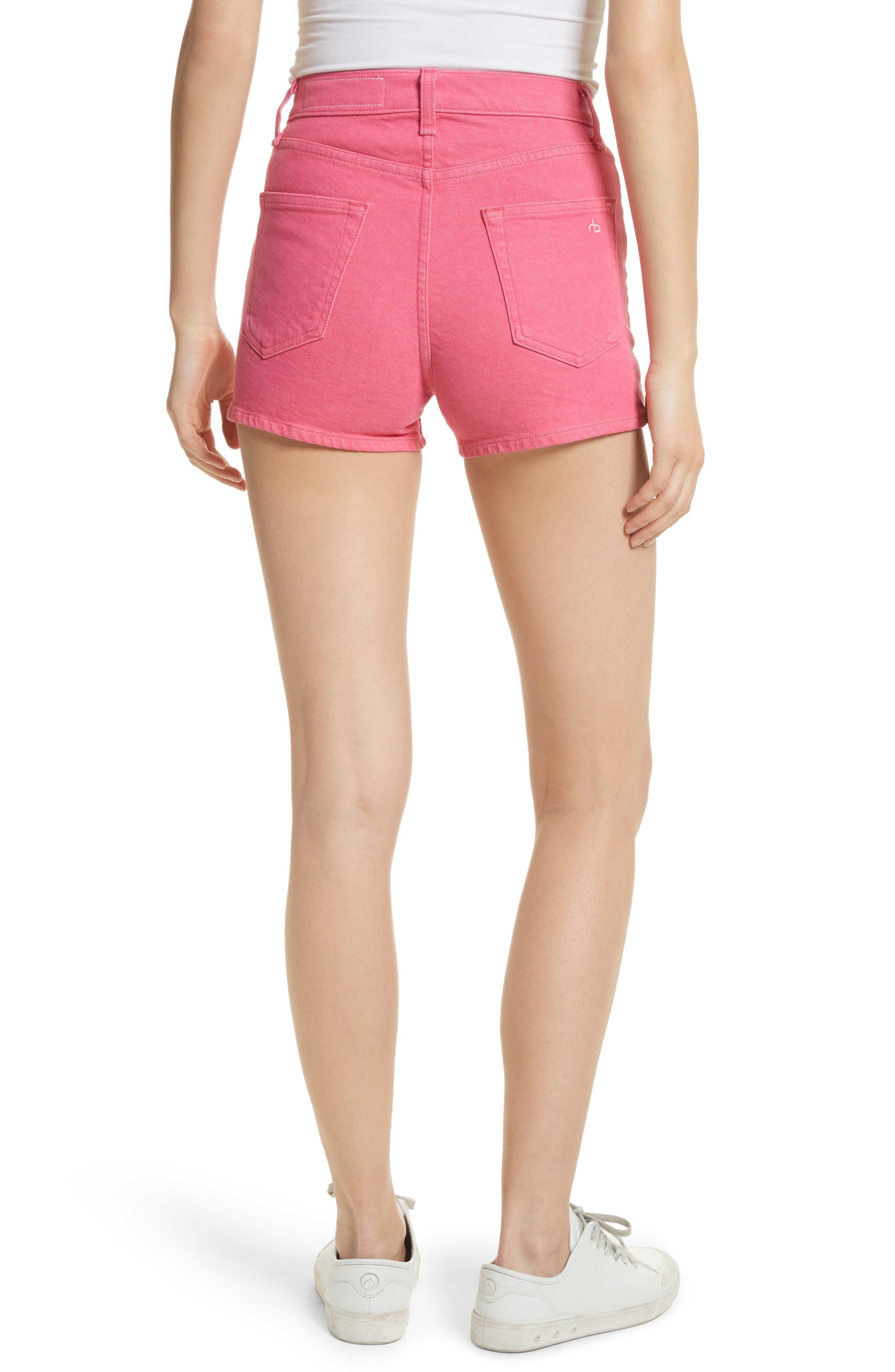 Justine High Waist Denim Shorts,                             Alternate thumbnail 2, color,                             Bull Pink