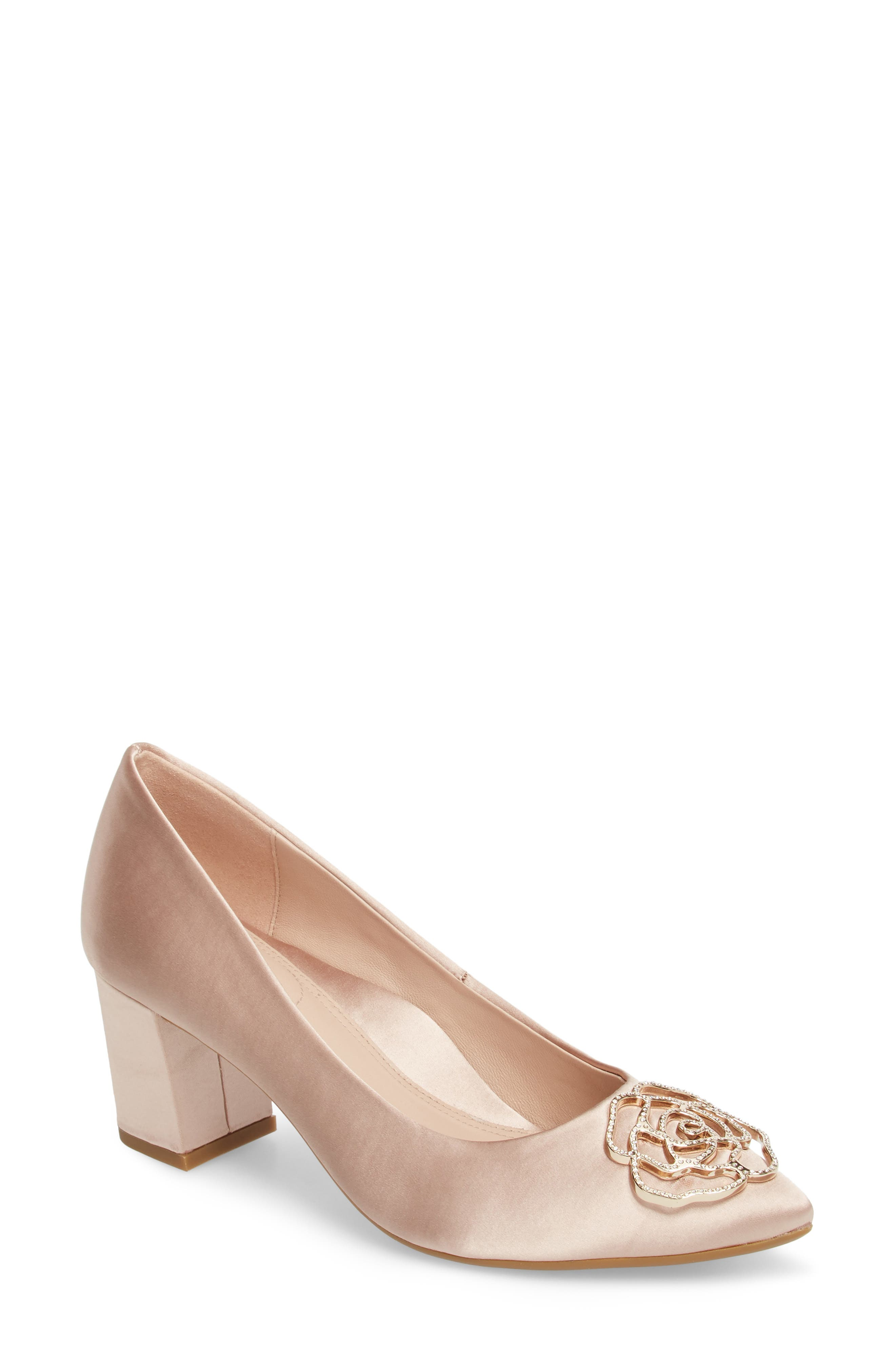 Maci Pump,                             Main thumbnail 1, color,                             Blush Satin Fabric