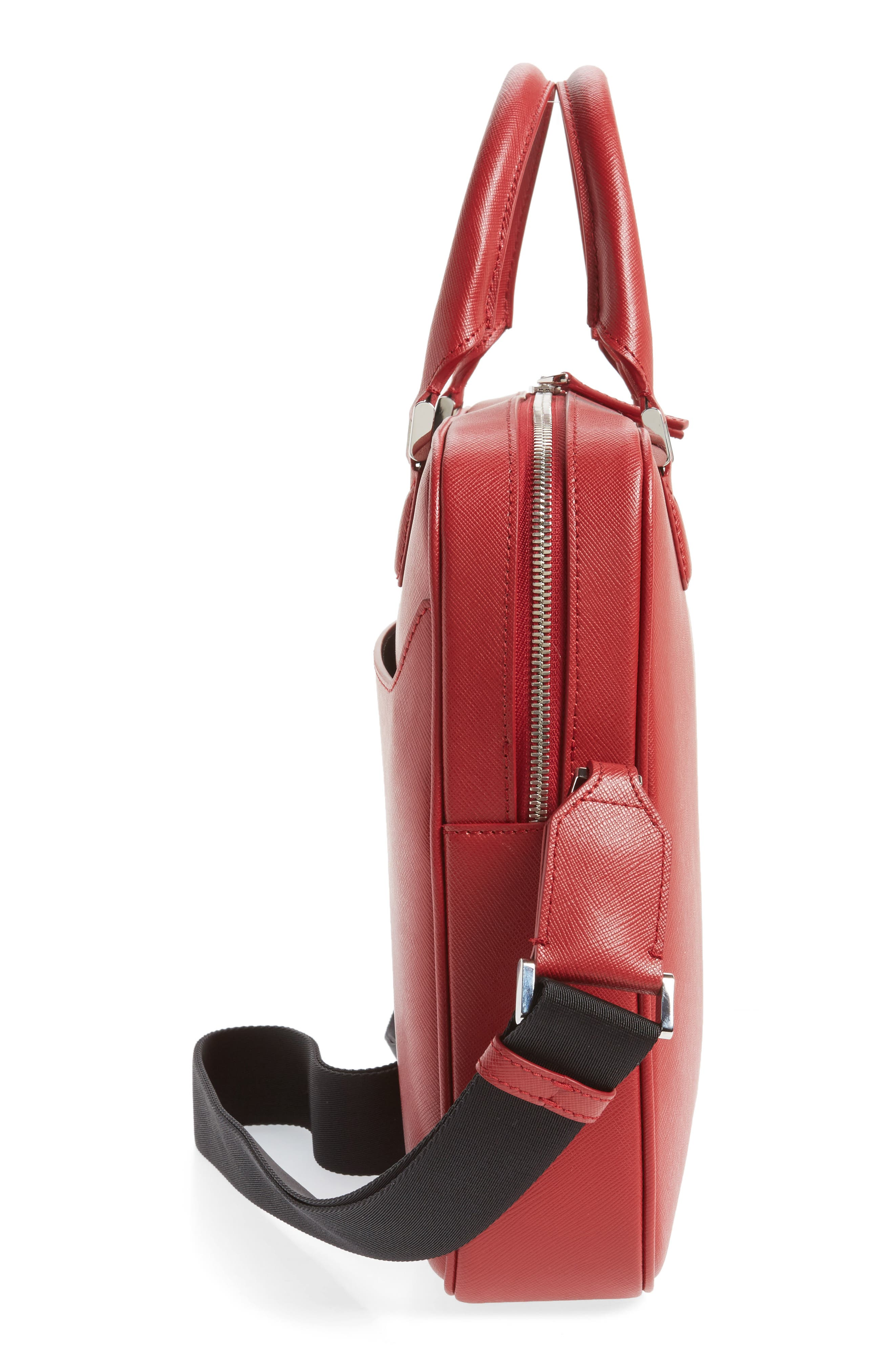 Sartorial Leather Briefcase,                             Alternate thumbnail 3, color,                             Red