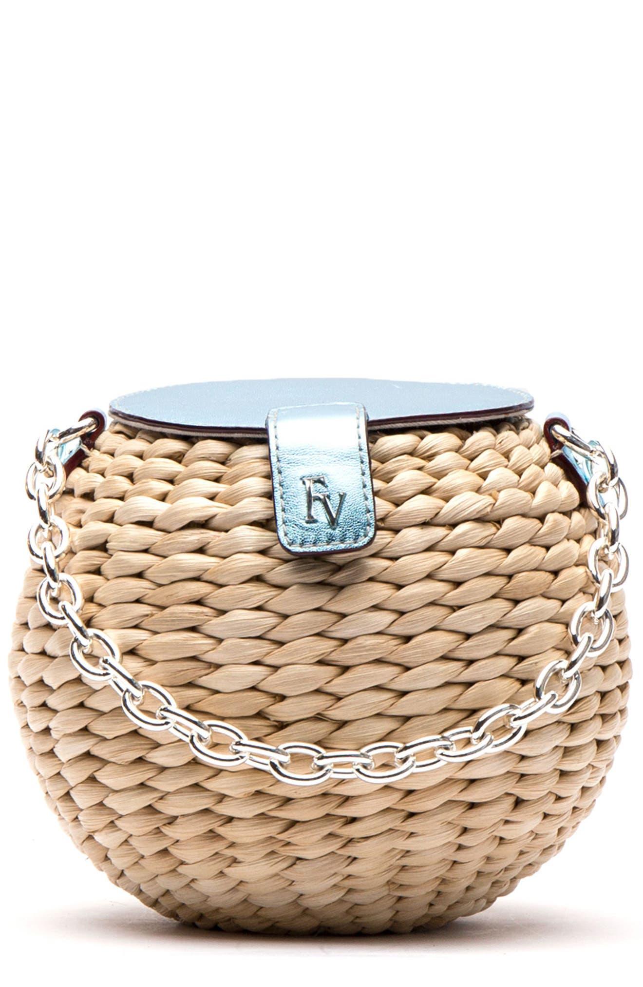 Main Image - Frances Valentine Mini Straw Bucket Bag