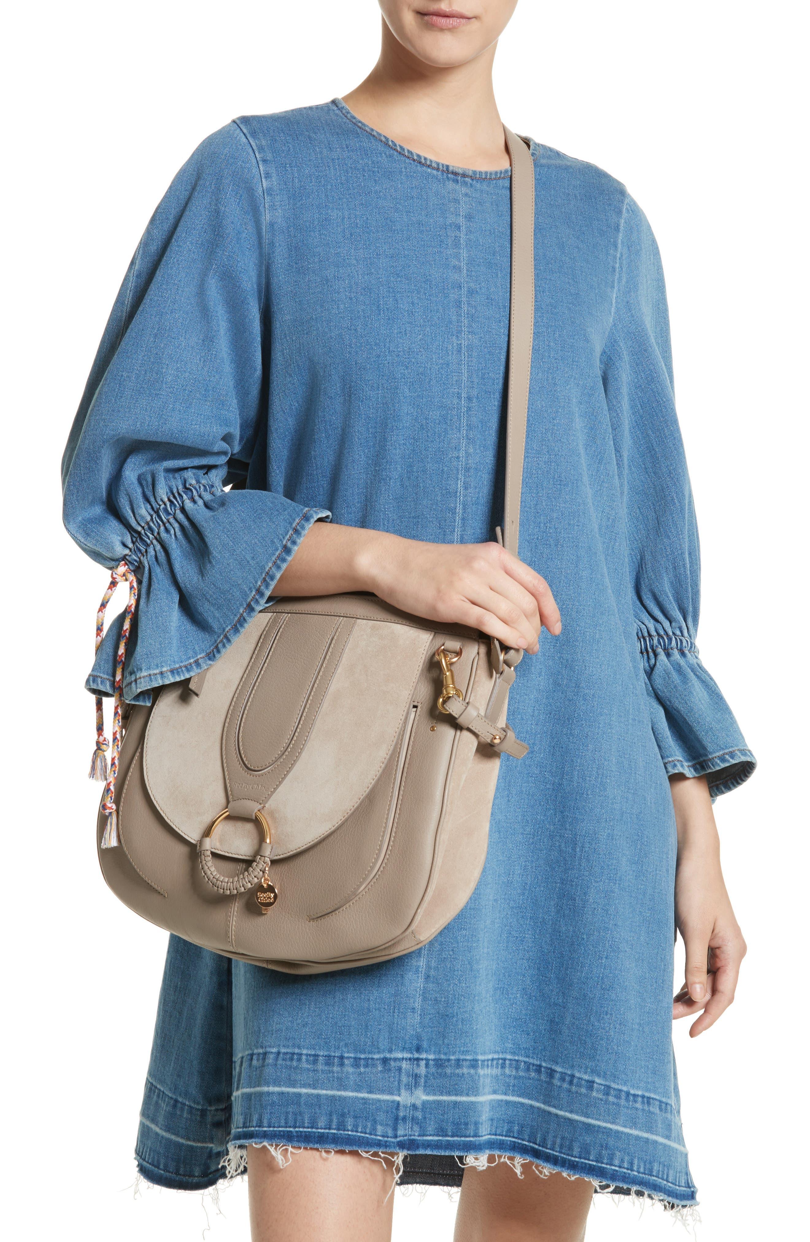 Hana Leather Shoulder Bag,                             Alternate thumbnail 2, color,                             Motty Grey