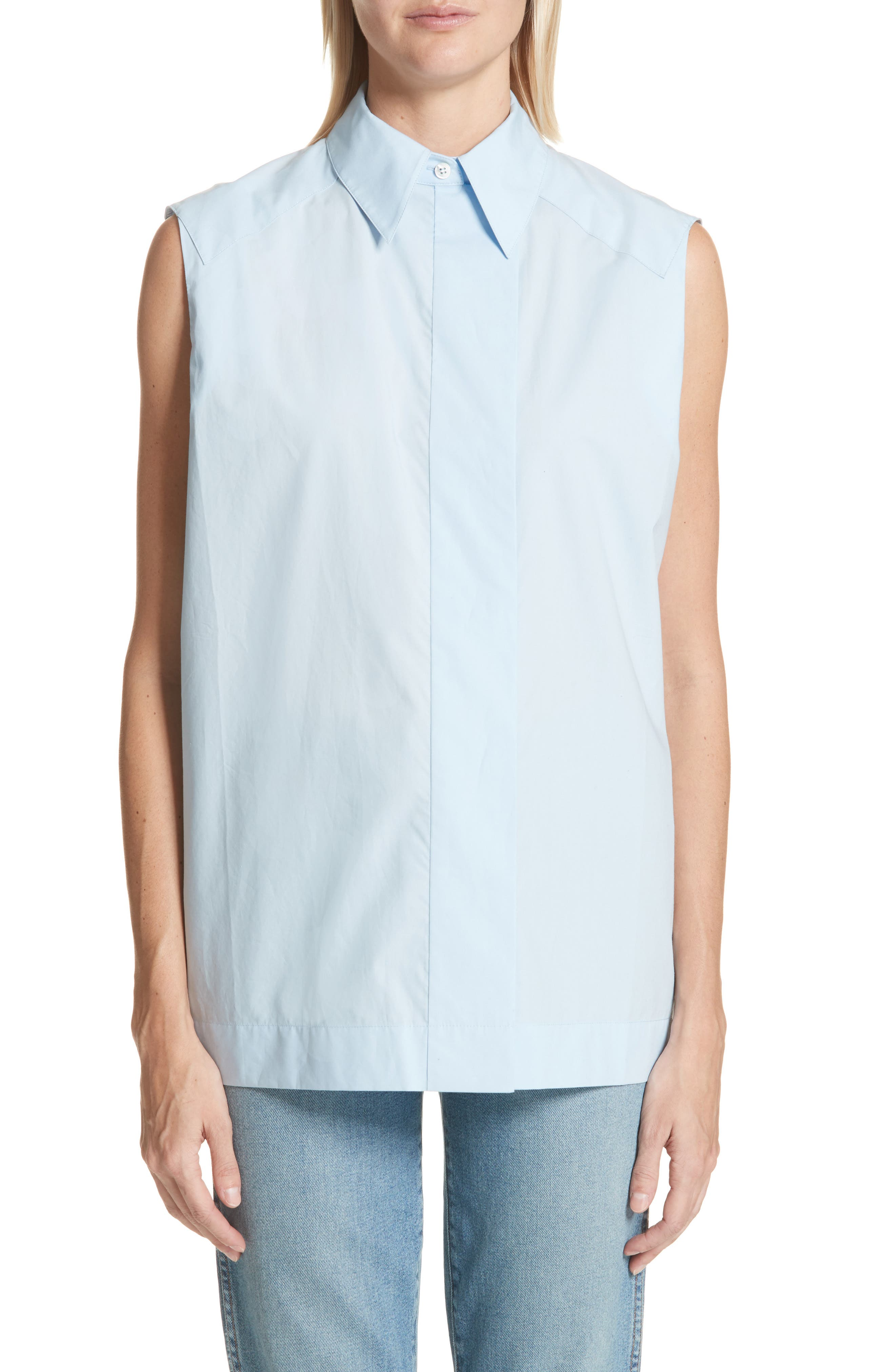 Lucia Sleeveless Blouse,                         Main,                         color, Light Blue