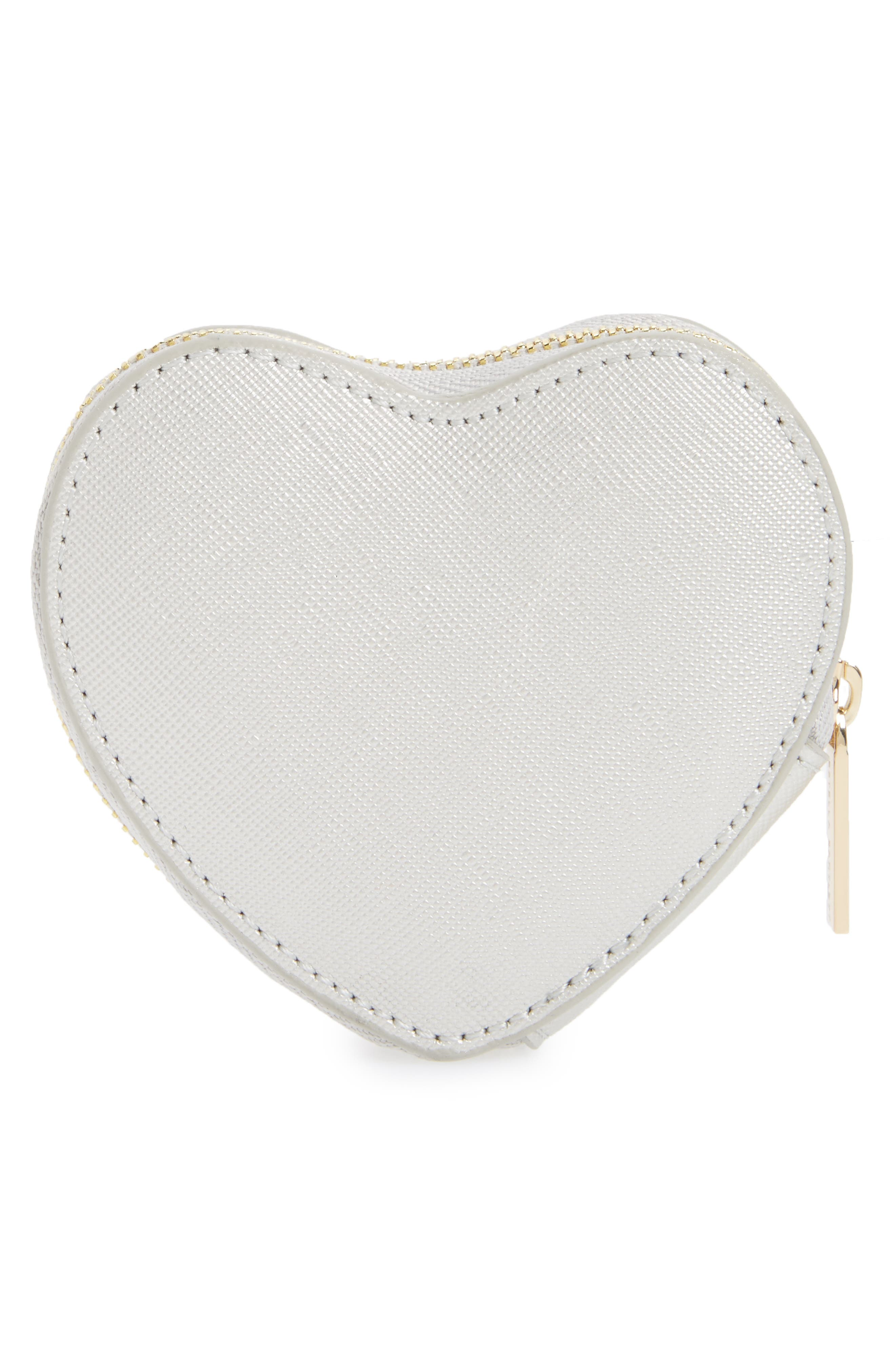 Heart Dream Faux Leather Coin Purse,                             Alternate thumbnail 3, color,                             Silver