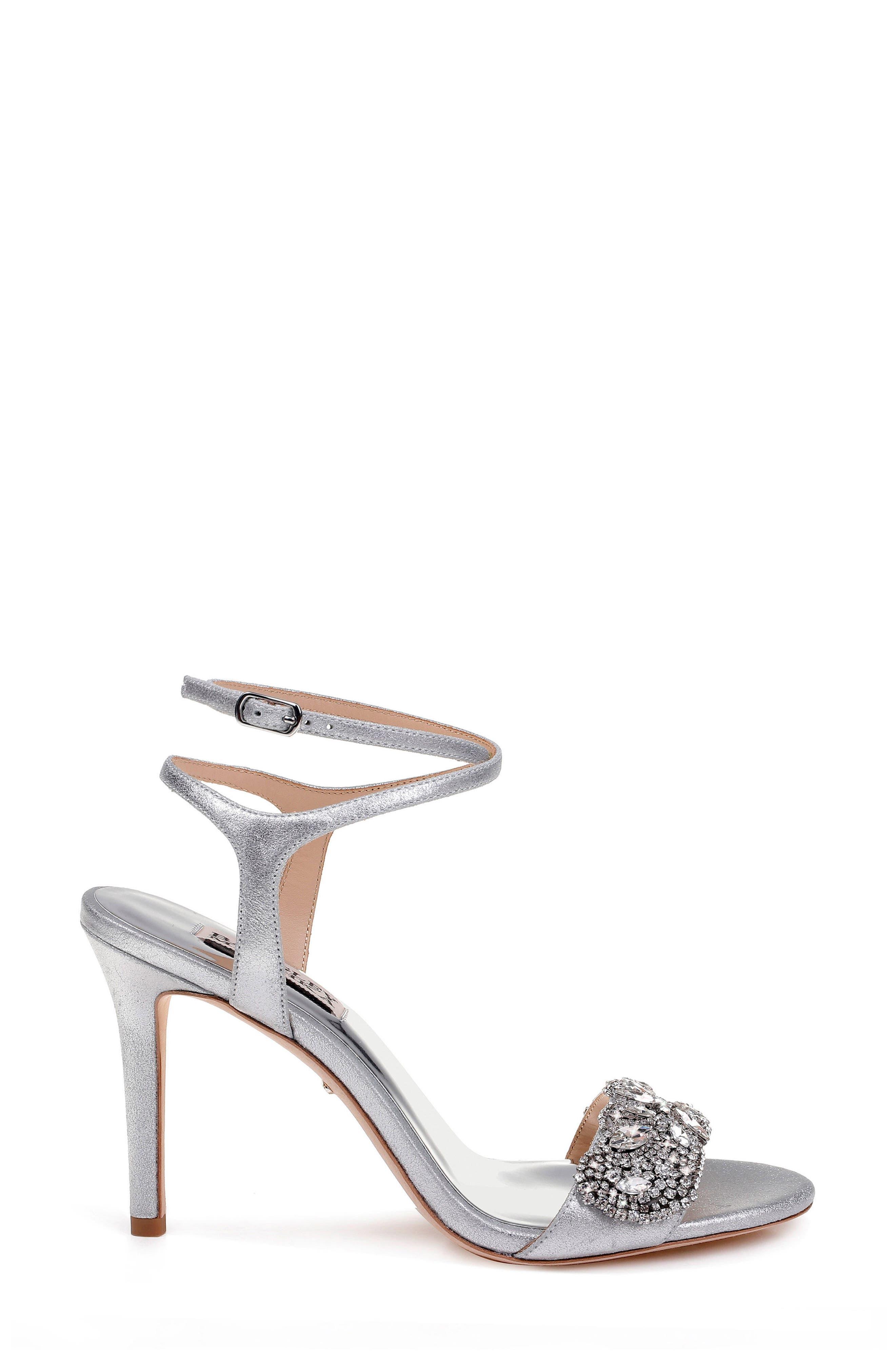 Hailey Embellished Ankle Strap Sandal,                             Alternate thumbnail 3, color,                             Silver Metallic Suede