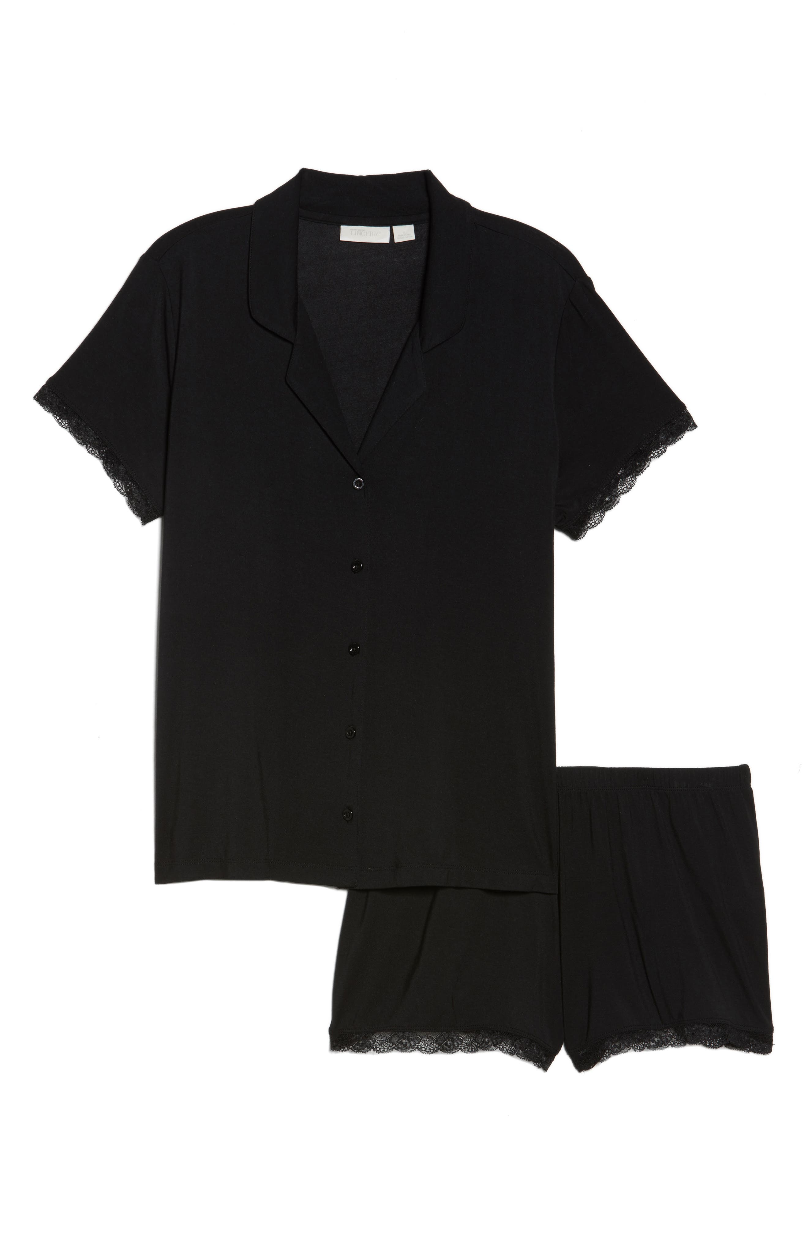 Moonlight Short Pajamas,                             Alternate thumbnail 4, color,                             Black