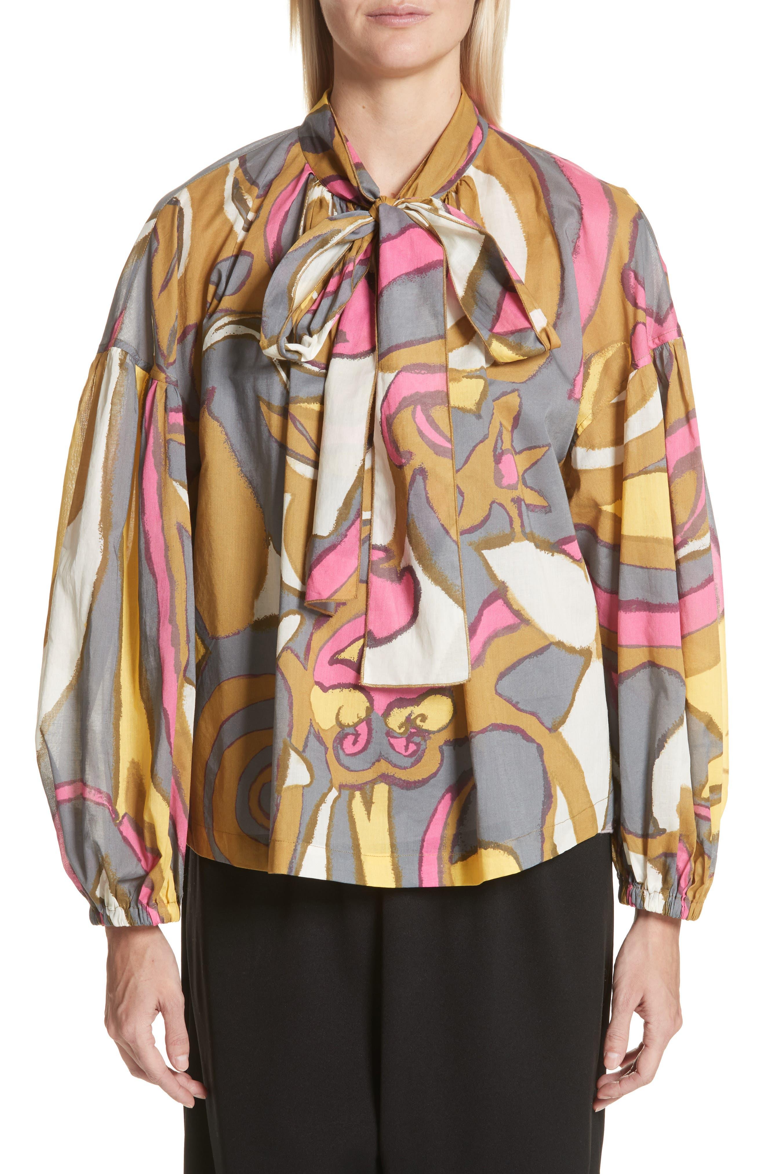 Tie Neck Retro Print Blouse,                         Main,                         color, Grey Multi