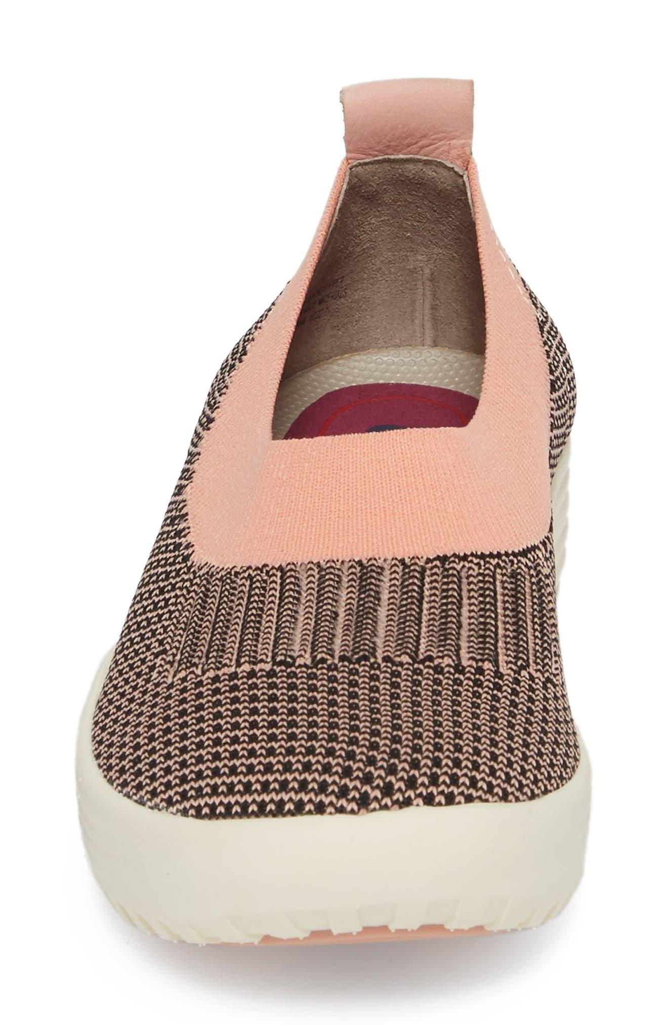 Merigold Slip-On Sock Fit Sneaker,                             Alternate thumbnail 4, color,                             Pink/ Black Knit Fabric