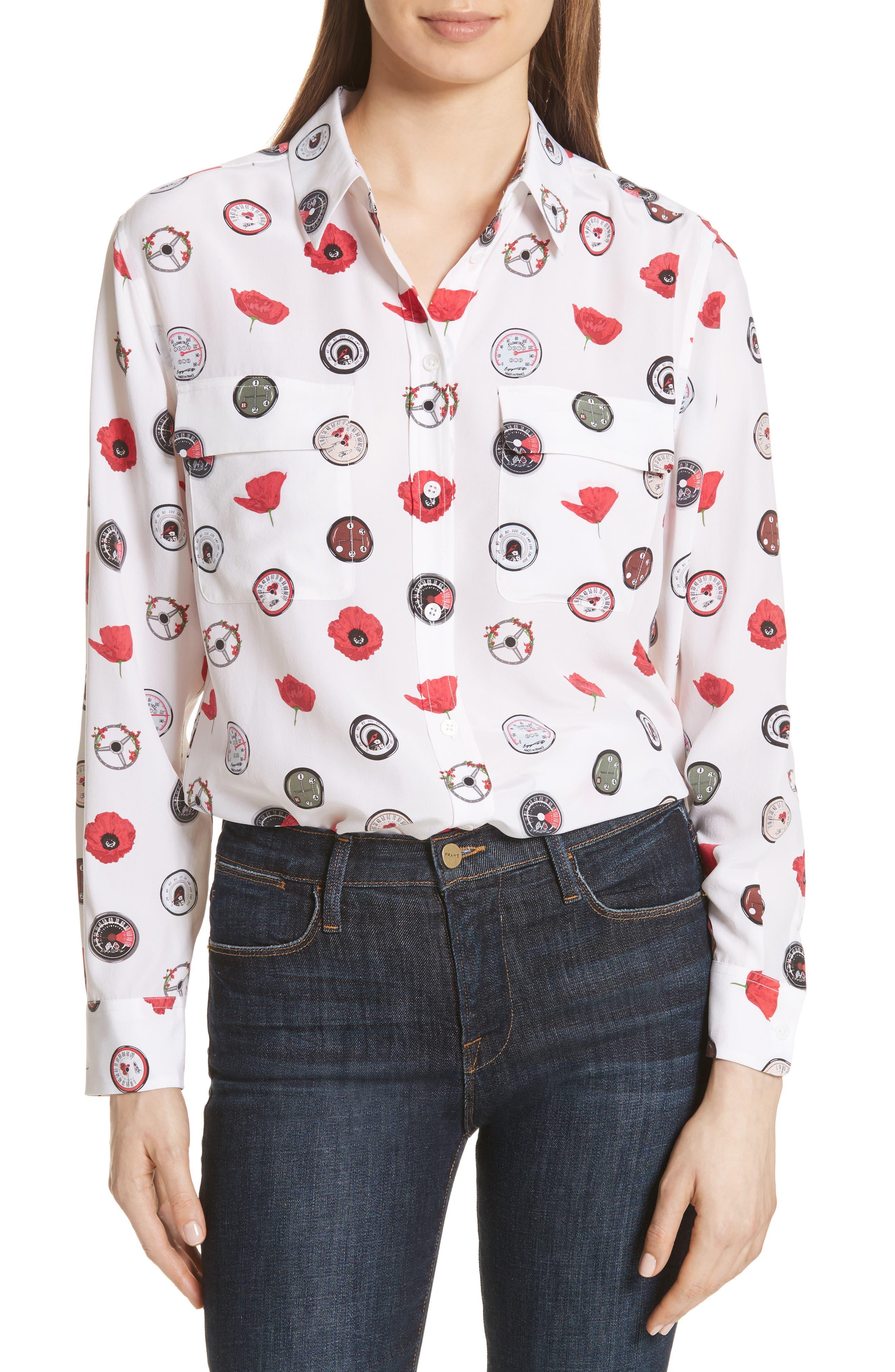 Signature Print Silk Shirt,                             Main thumbnail 1, color,                             Bright White Multi