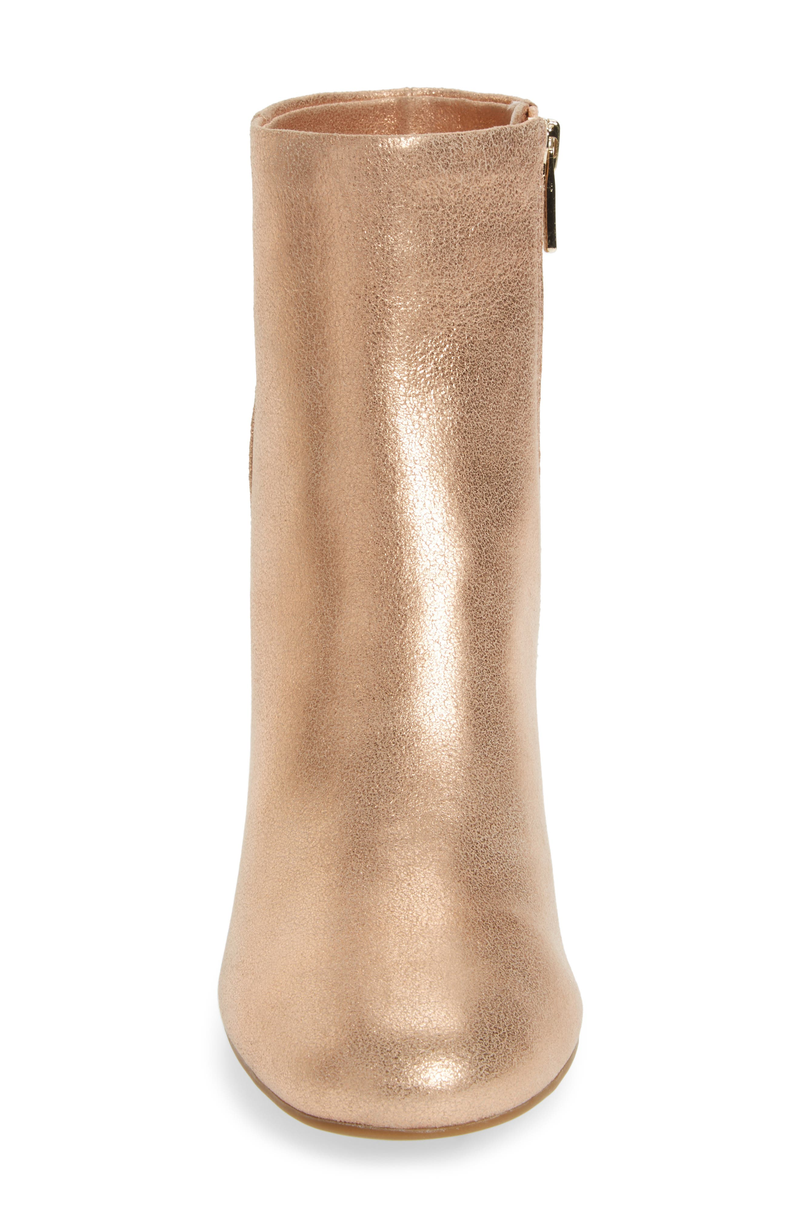 Cassidy Block Heel Bootie,                             Alternate thumbnail 4, color,                             Rose Gold Leather