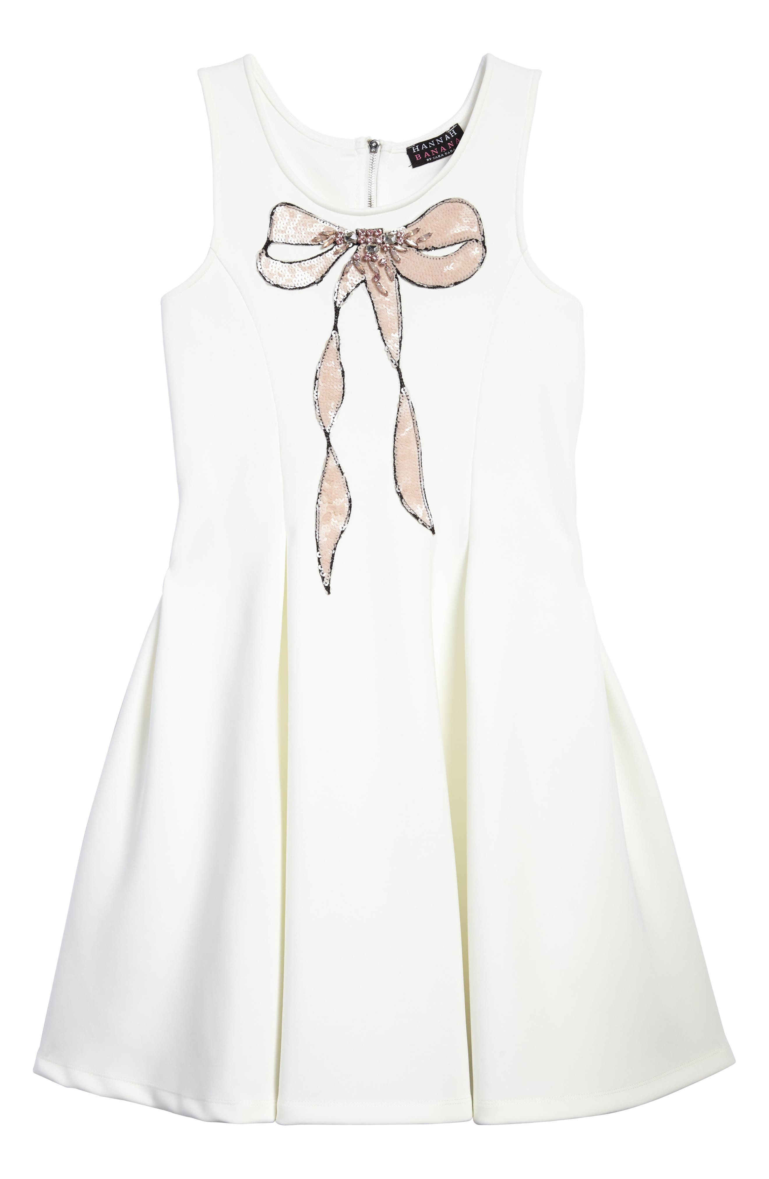 Sequin Embellished Bow A-Line Dress,                         Main,                         color, Cream