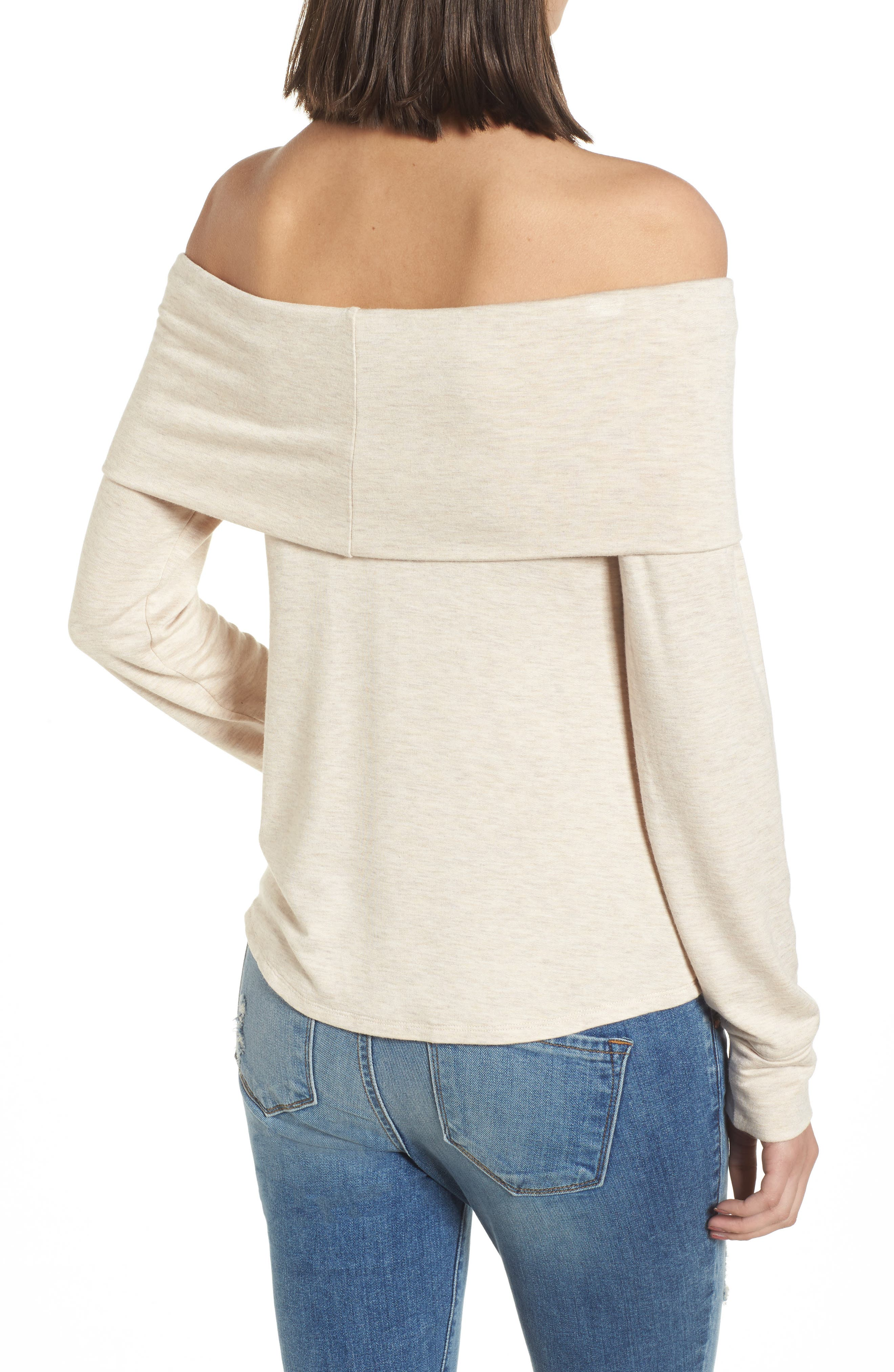 Foldover Off the Shoulder Top,                             Alternate thumbnail 2, color,                             Oatmeal