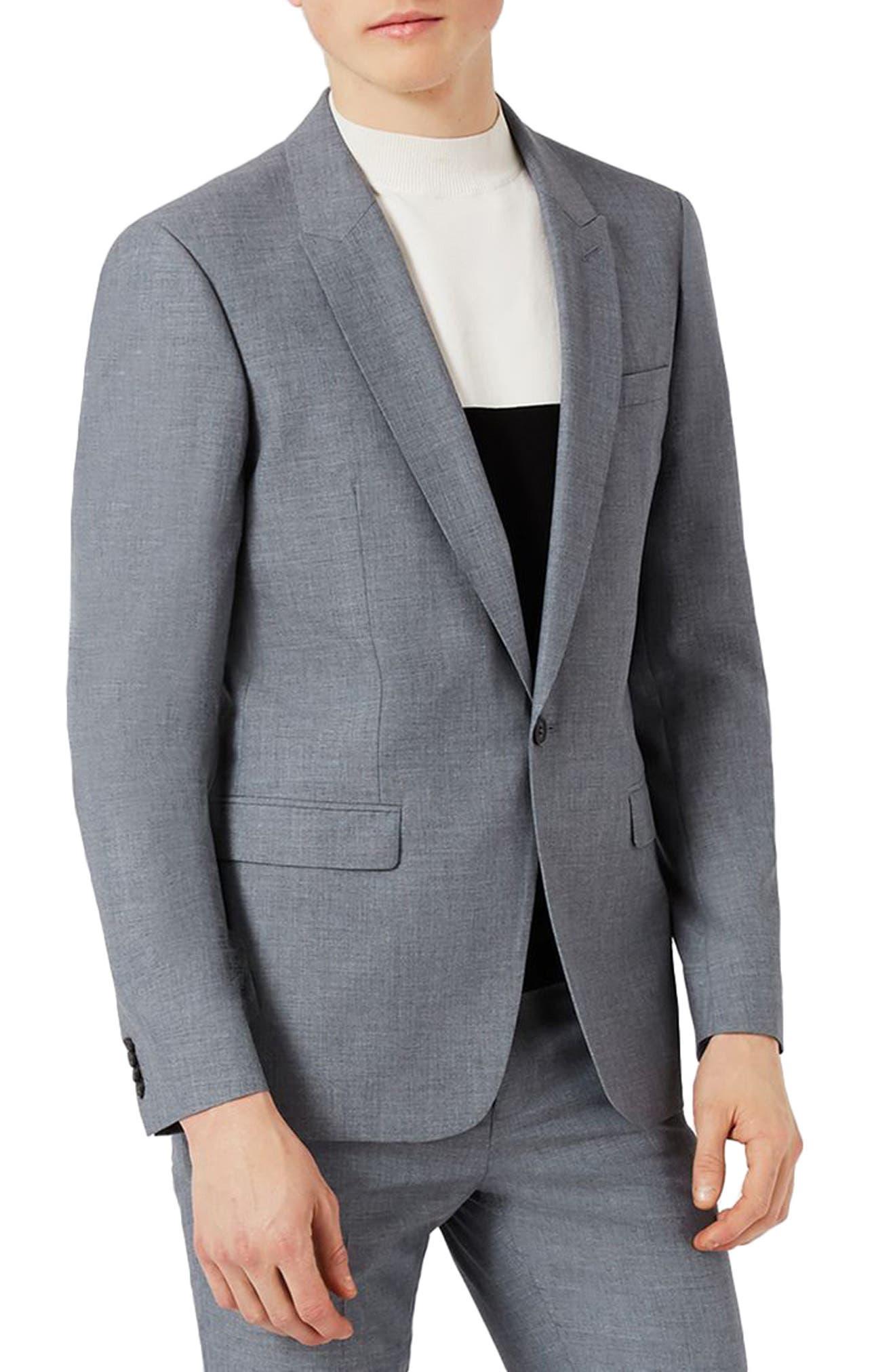 Skinny Fit Crosshatch Suit Jacket,                         Main,                         color, Mid Blue