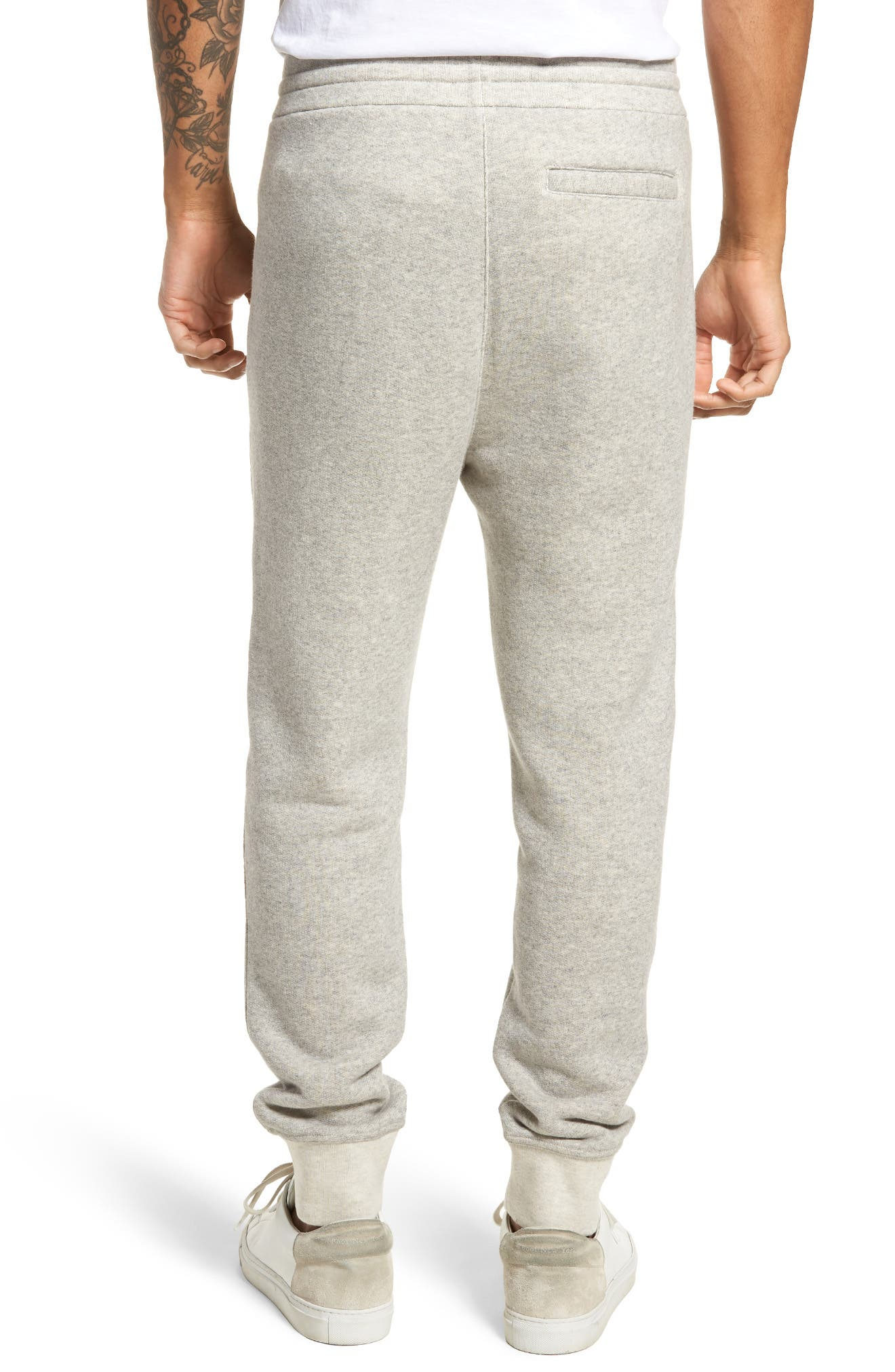 Plush Cotton Jogger Pants,                             Alternate thumbnail 3, color,                             Light Heather Grey