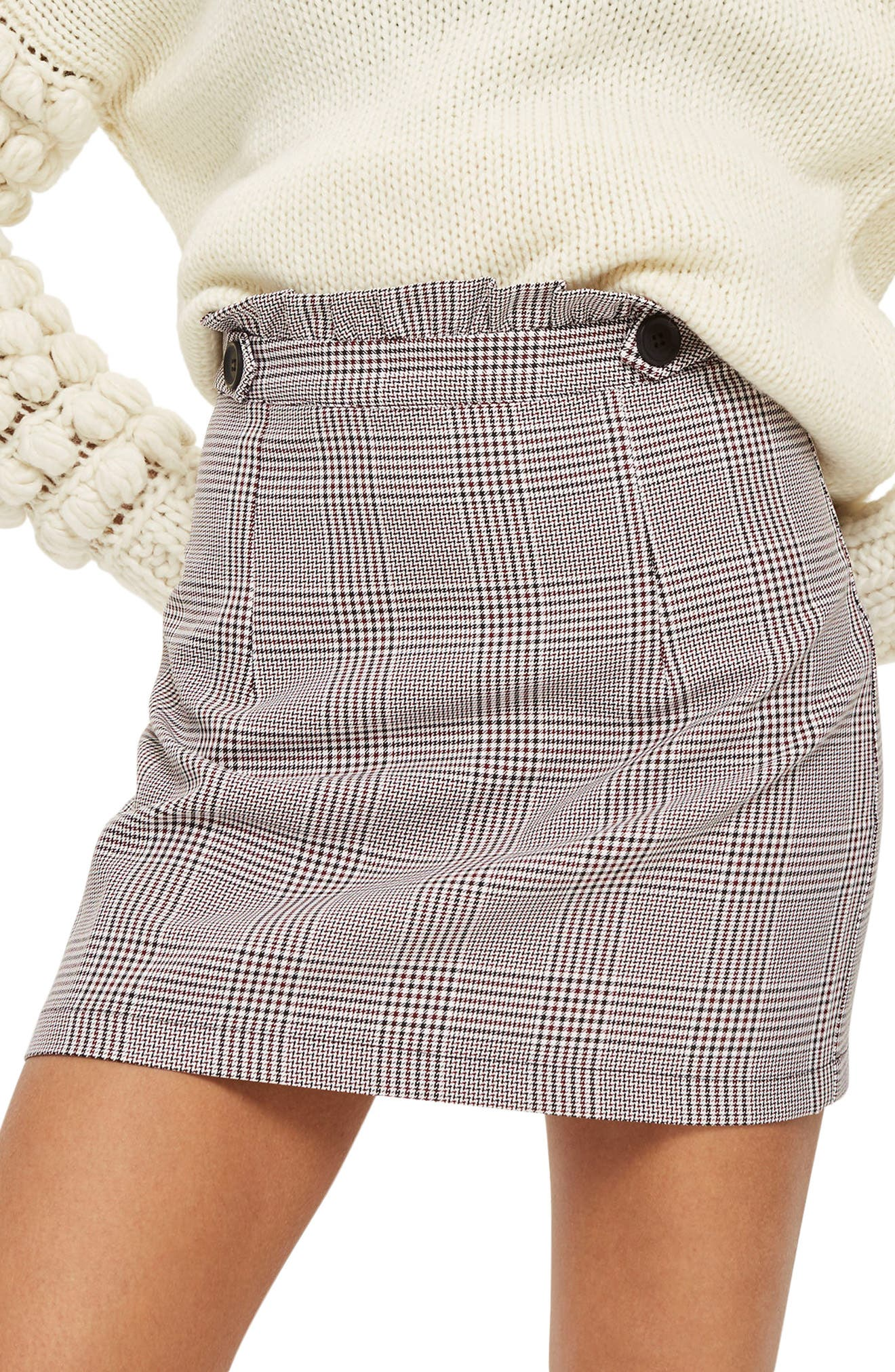 Frill Edge Heritage Check Skirt,                             Main thumbnail 1, color,                             Red Multi