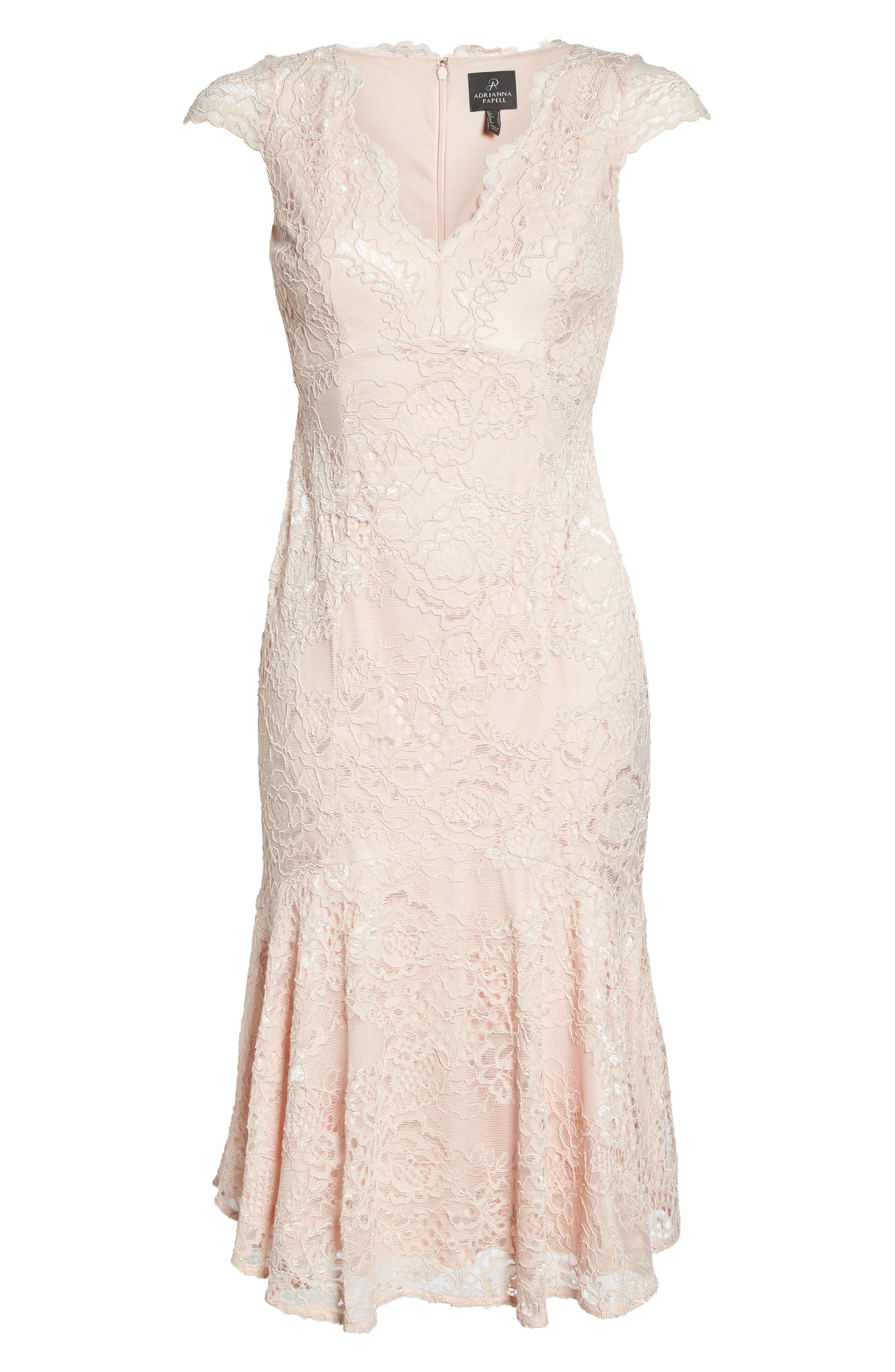 Flounce Hem Lace Dress,                             Alternate thumbnail 5, color,                             Blush