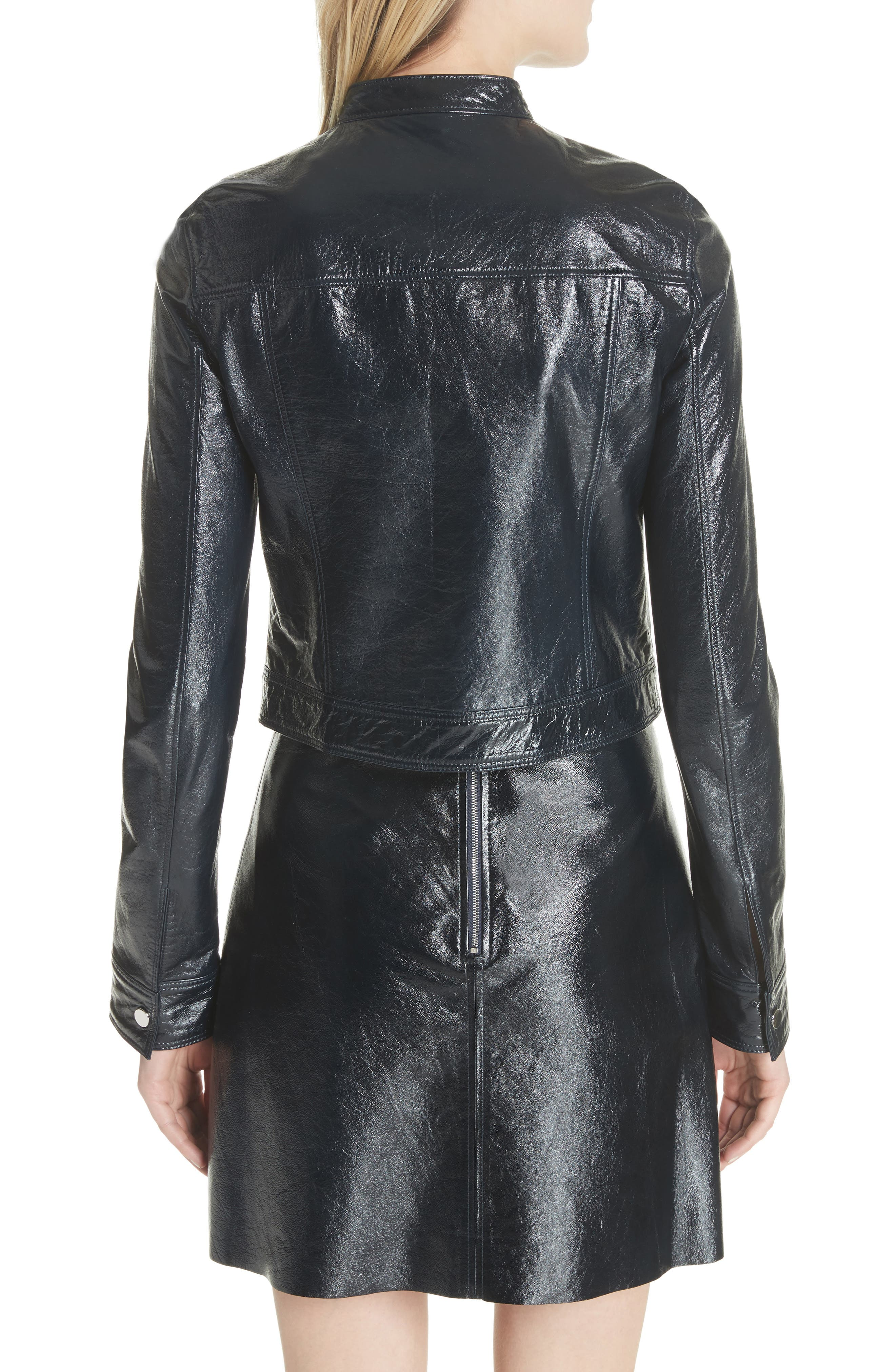 Crinkled Patent Leather Bomber Jacket,                             Alternate thumbnail 2, color,                             Abyss