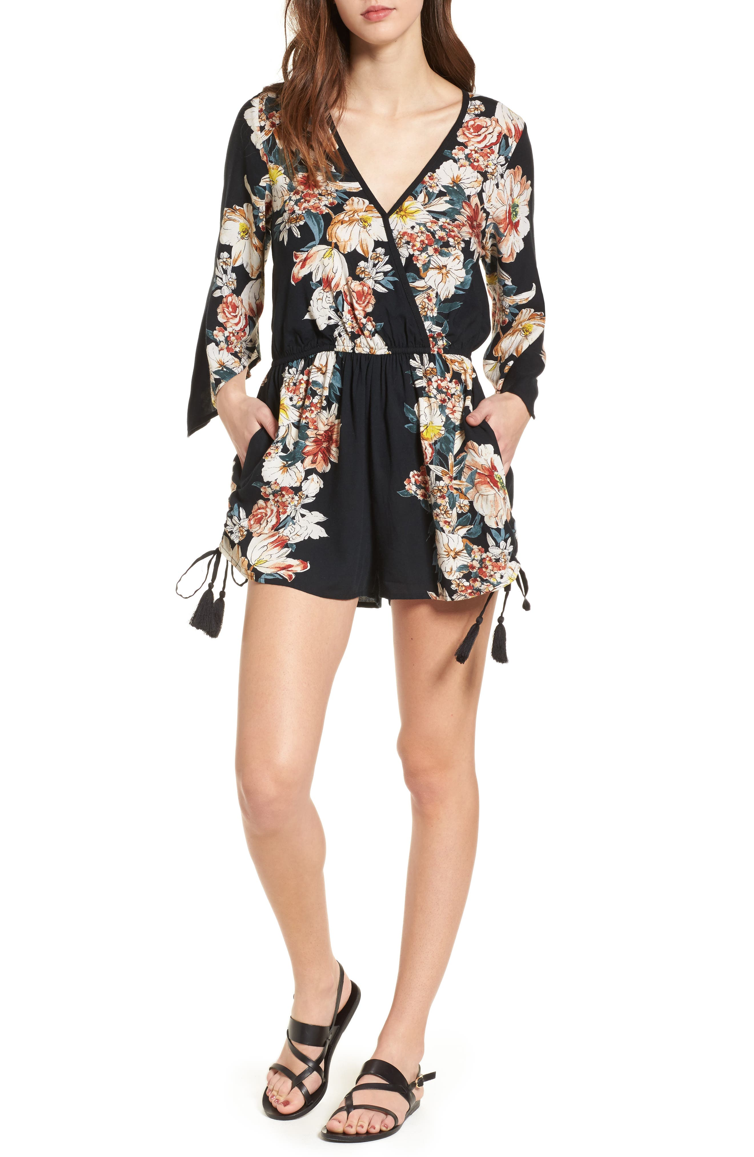 Floral Print Surplice Romper,                             Main thumbnail 1, color,                             Black/ Rust