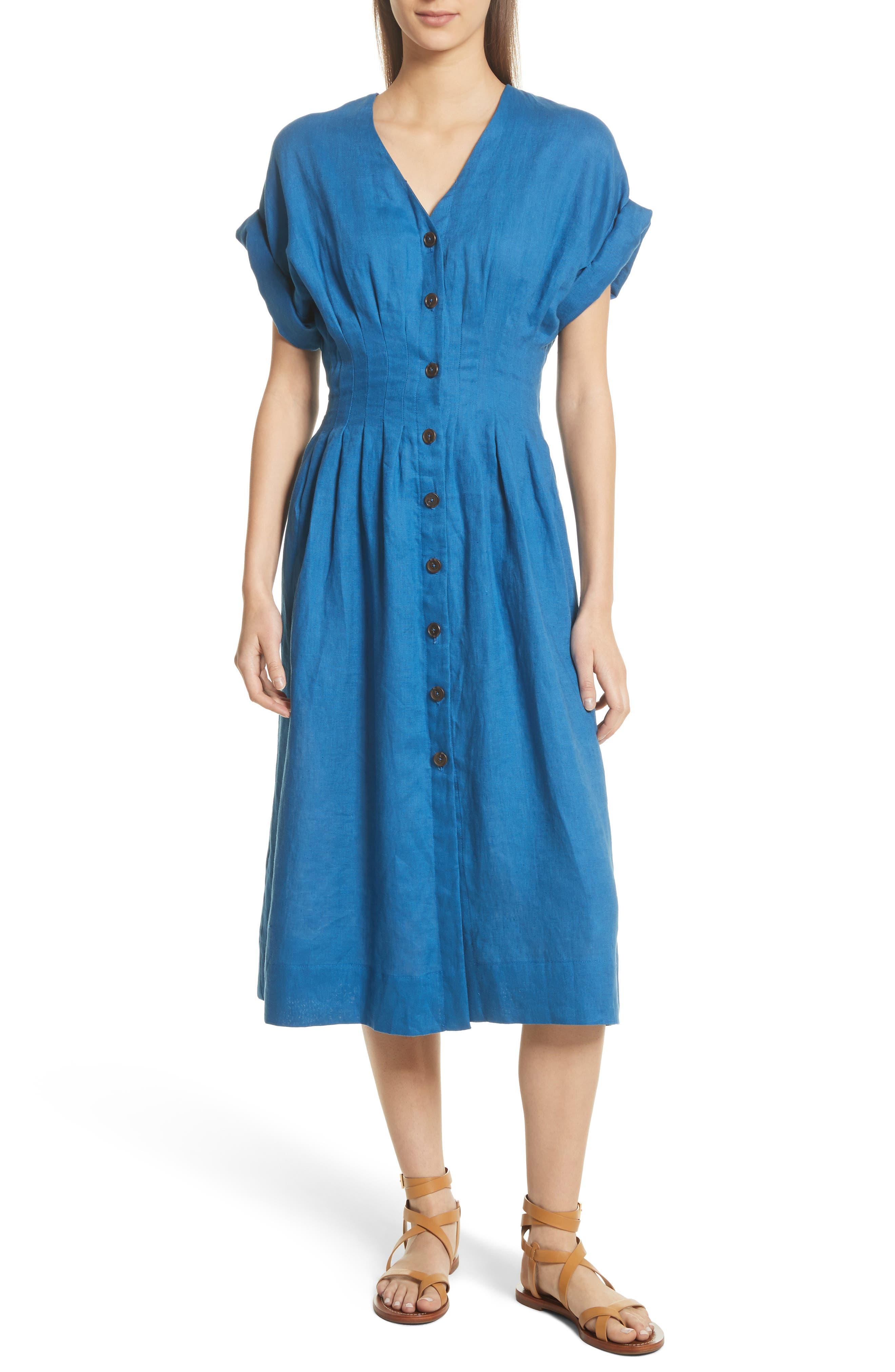 Coraline Pleated Button Front Linen Dress,                         Main,                         color, Blue