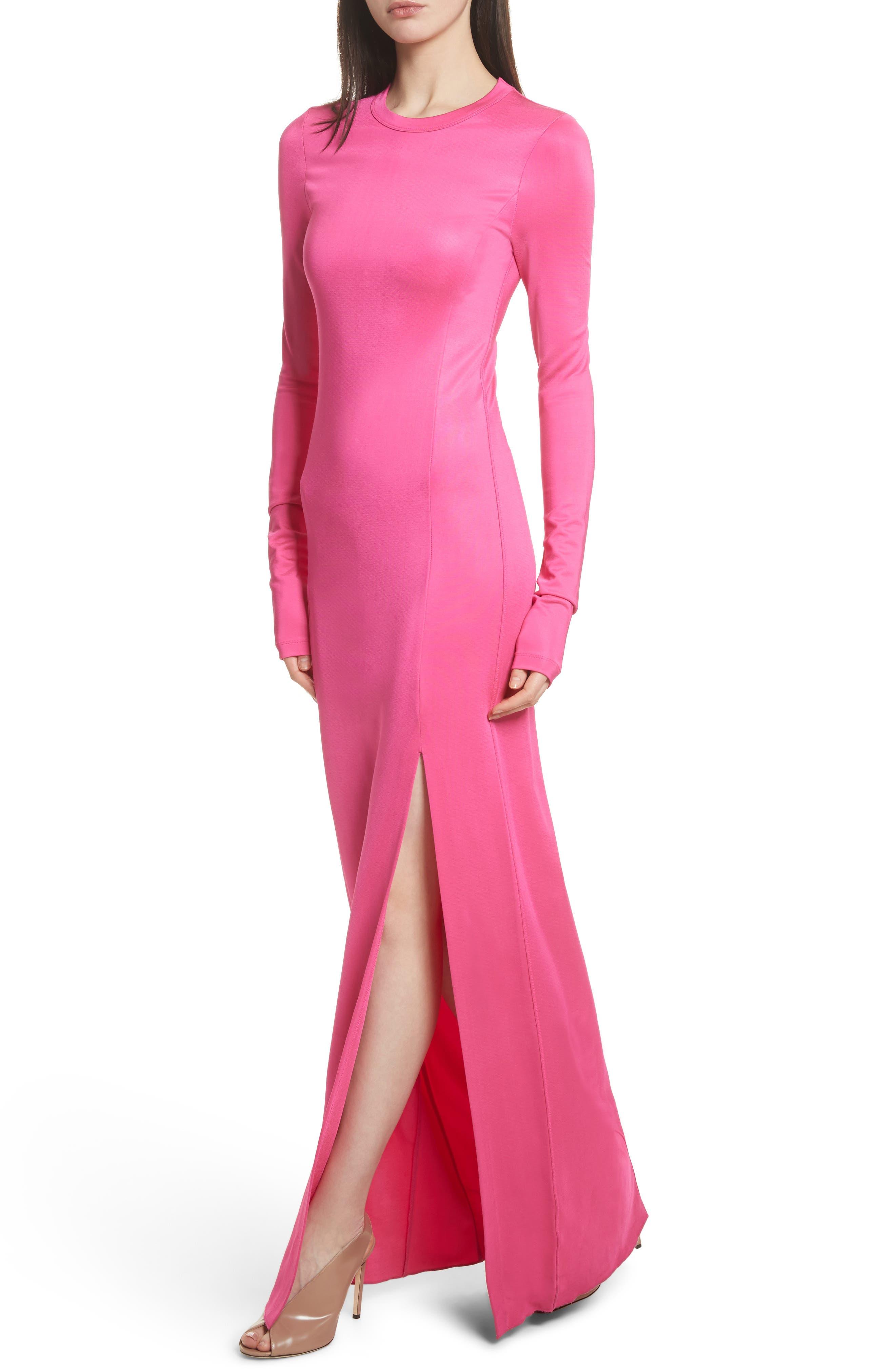 Fallon Slit Skirt Jersey Maxi Dress,                             Alternate thumbnail 5, color,                             Flamingo