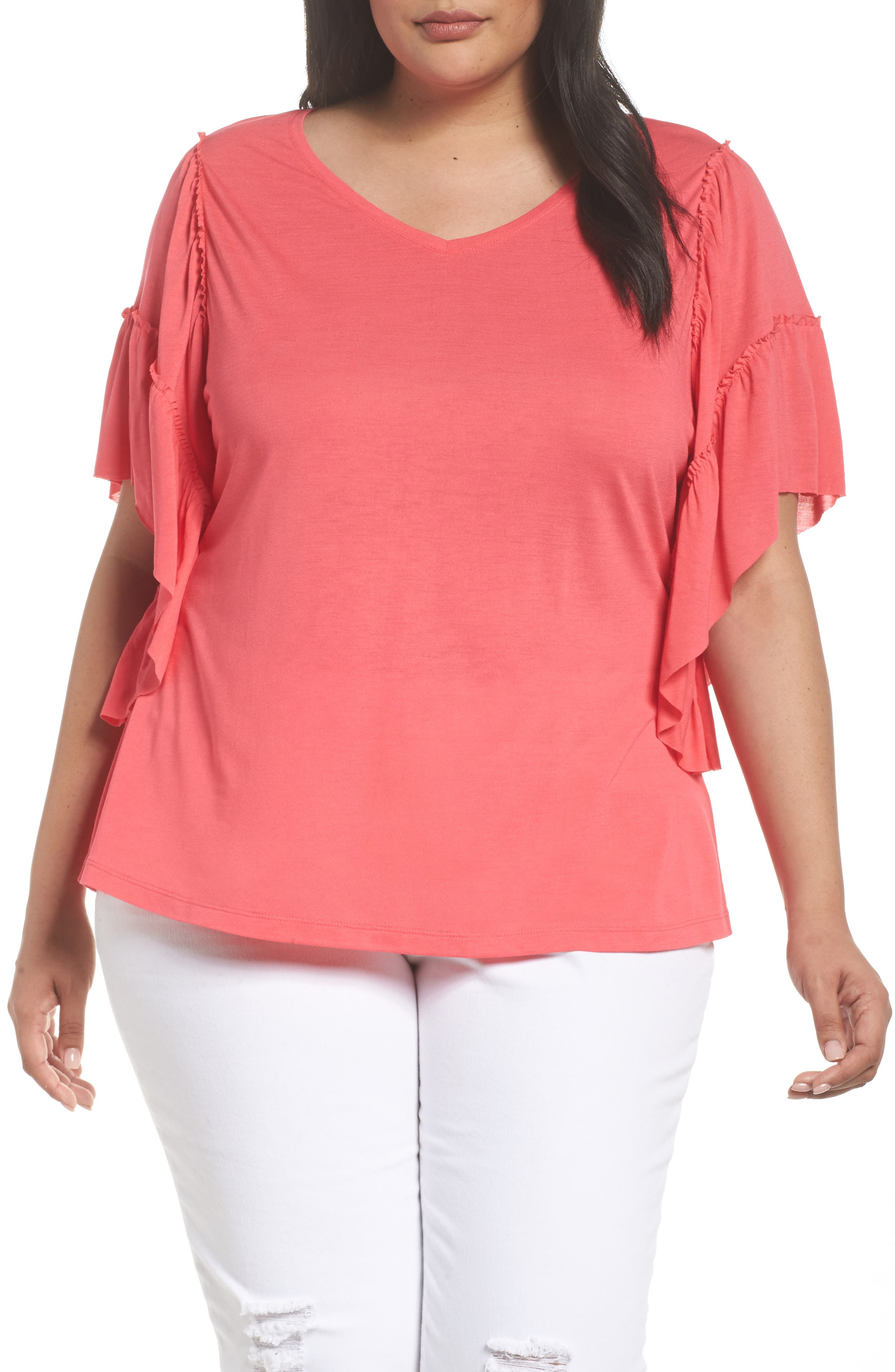 Sejour Frill Sleeve Tee (Plus Size)