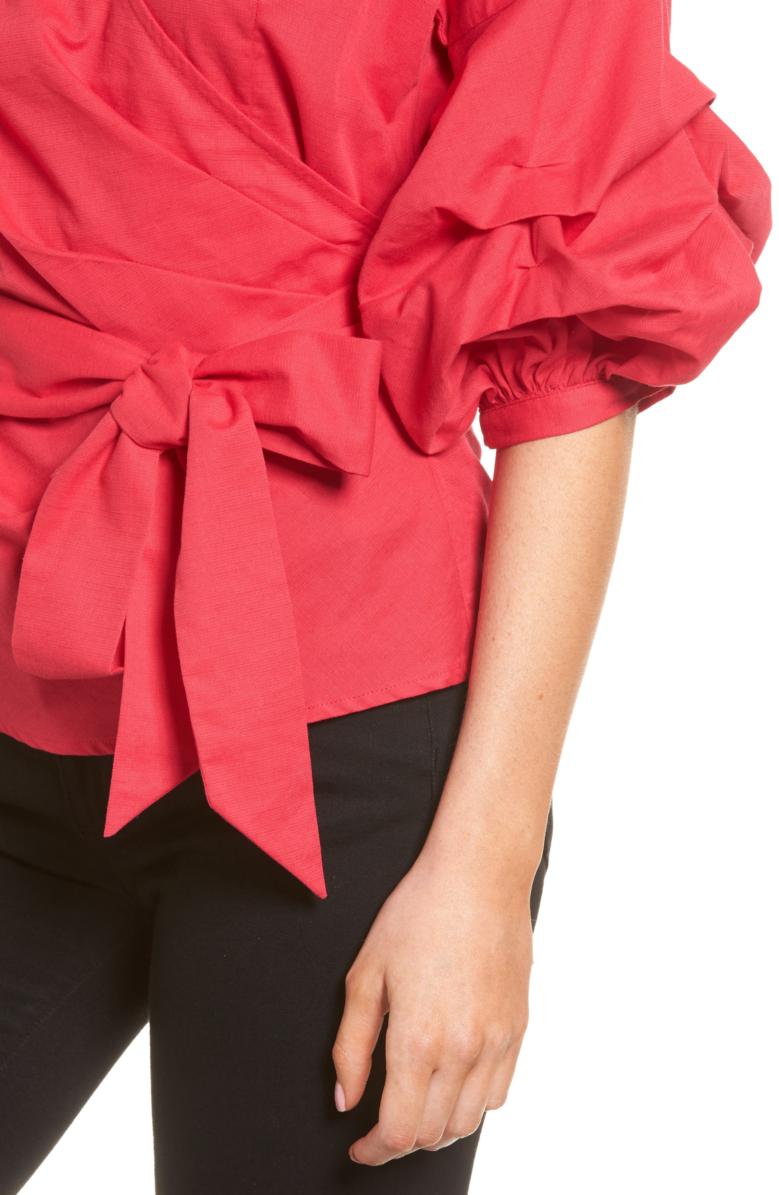 Wrap Top,                             Alternate thumbnail 4, color,                             Red Barberry