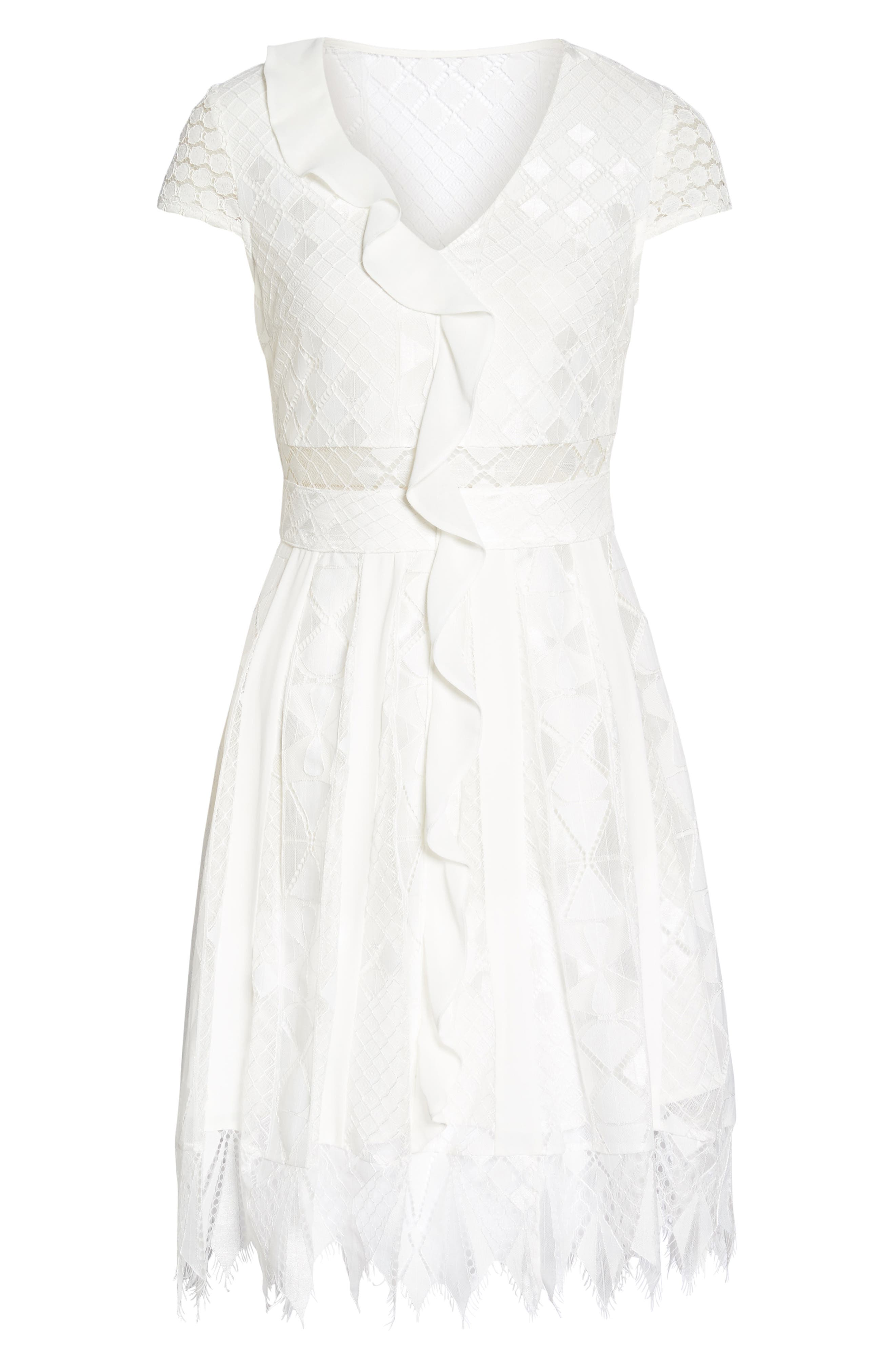 Florence Geo Lace Fit & Flare Dress,                             Alternate thumbnail 6, color,                             White