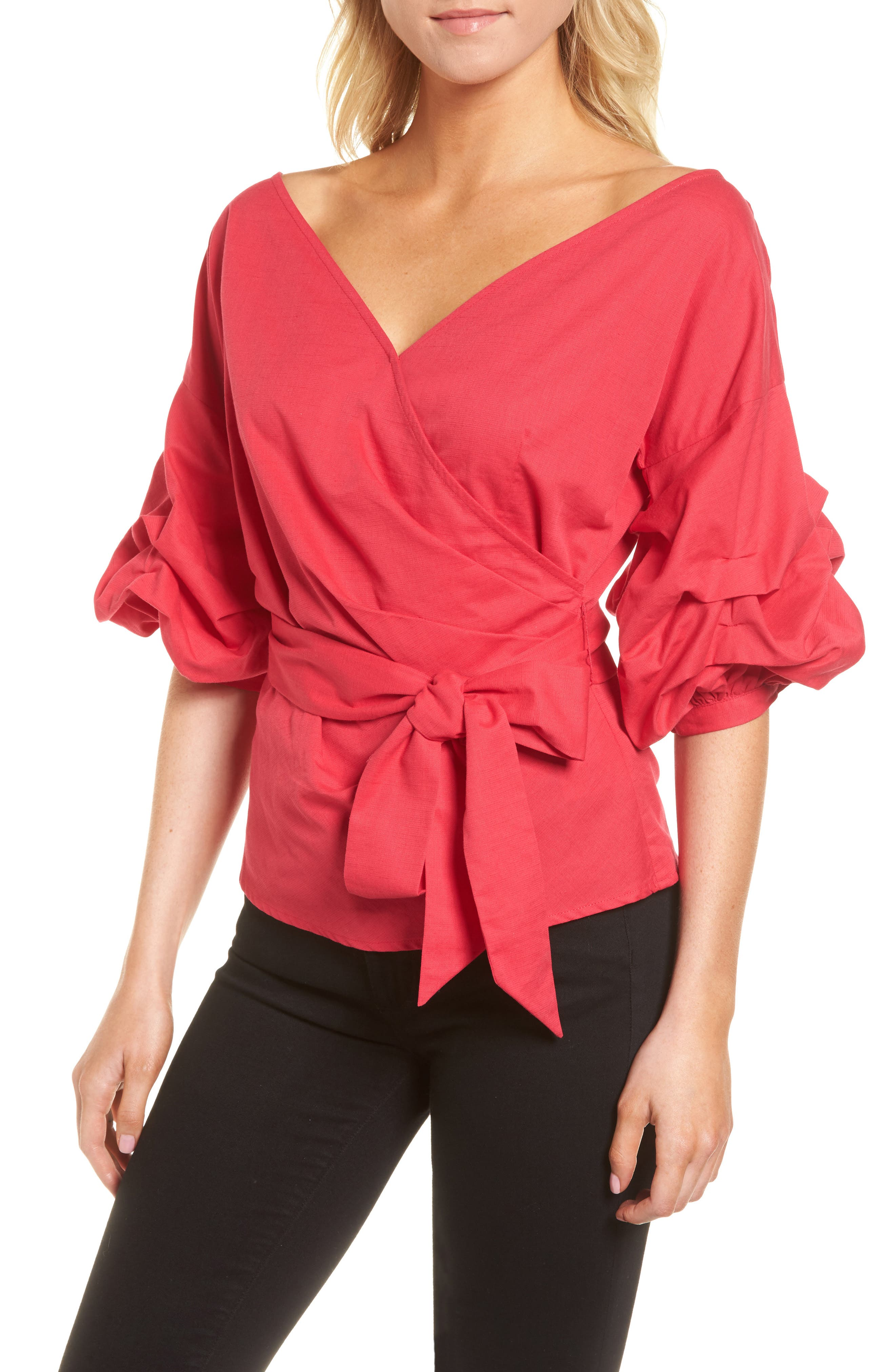 Wrap Top,                             Main thumbnail 1, color,                             Red Barberry
