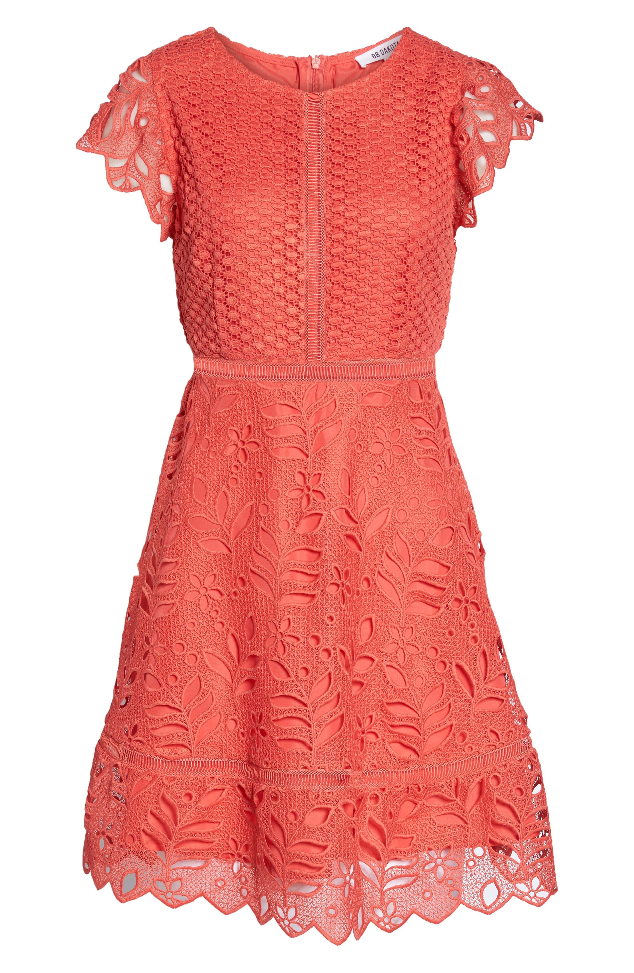 Ariane Mix Lace Dress,                             Alternate thumbnail 6, color,                             Cantaloupe