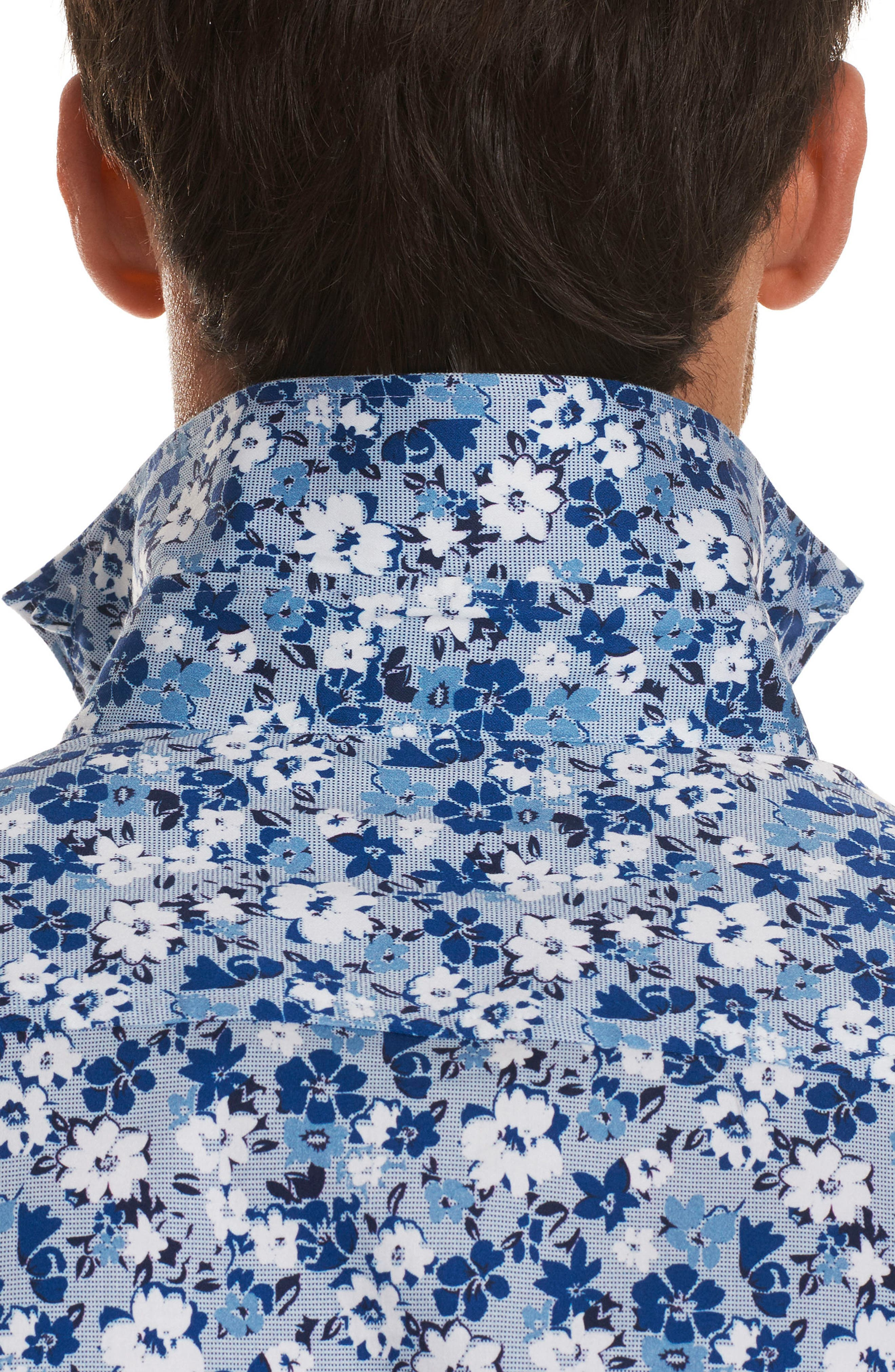 Asher Tailored Fit Floral Sport Shirt,                             Alternate thumbnail 3, color,                             Blue