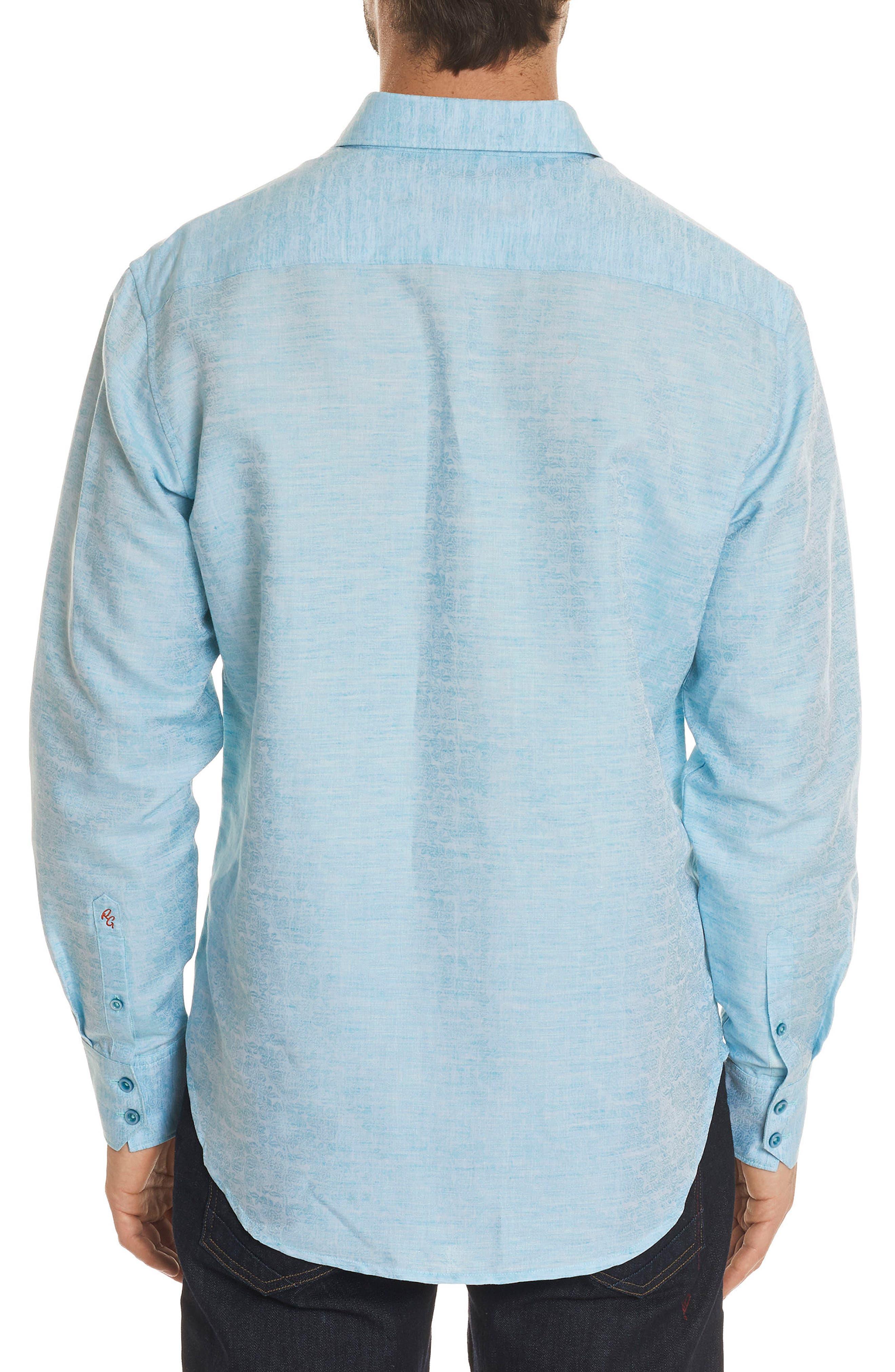 Cyprus Classic Fit Linen & Cotton Sport Shirt,                             Alternate thumbnail 2, color,                             Teal