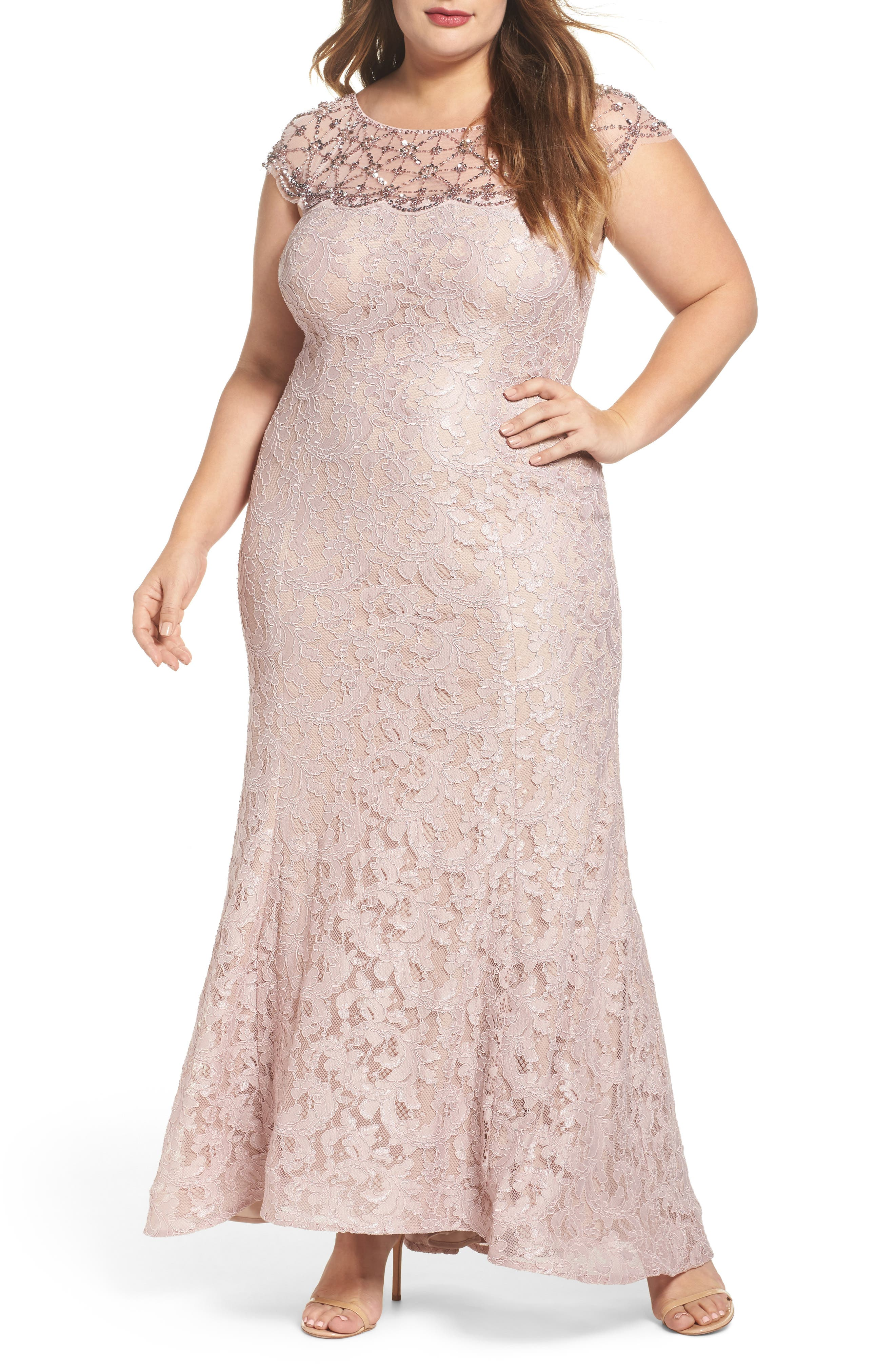 Xscape Beaded Yoke Gown (Plus Size)