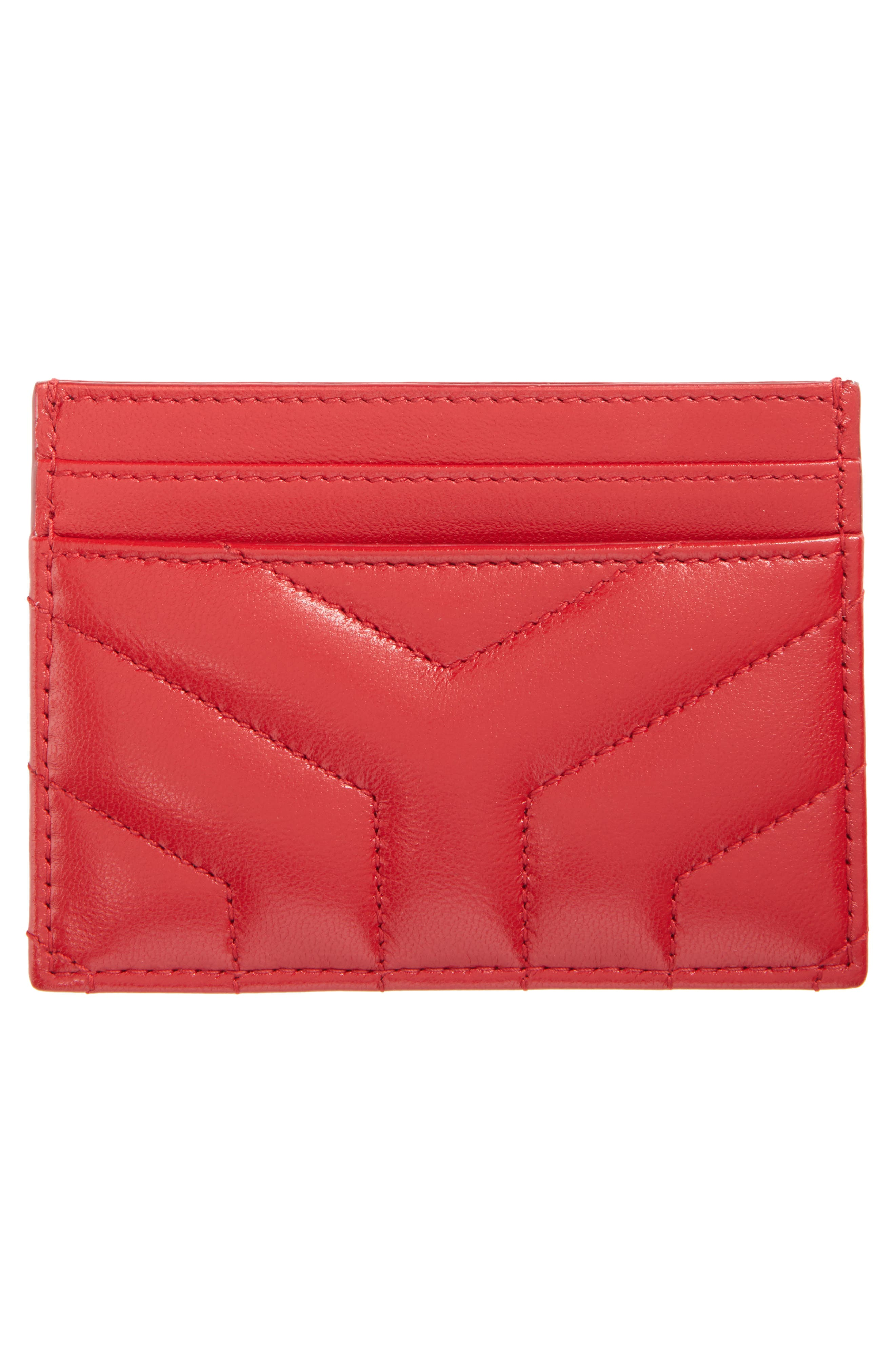 Alternate Image 2  - Saint Laurent Loulou Monogram Quilted Leather Credit Card Case