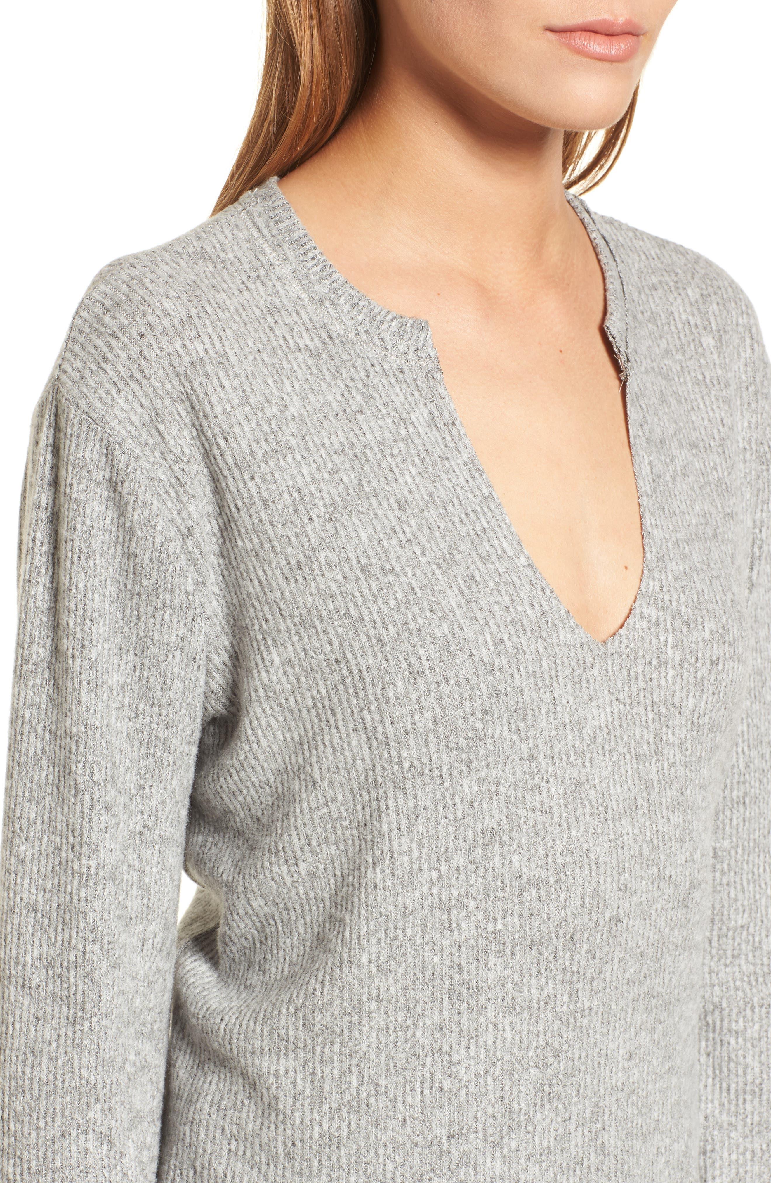 Ribbed Split Neck Sweater,                             Alternate thumbnail 4, color,                             Grey