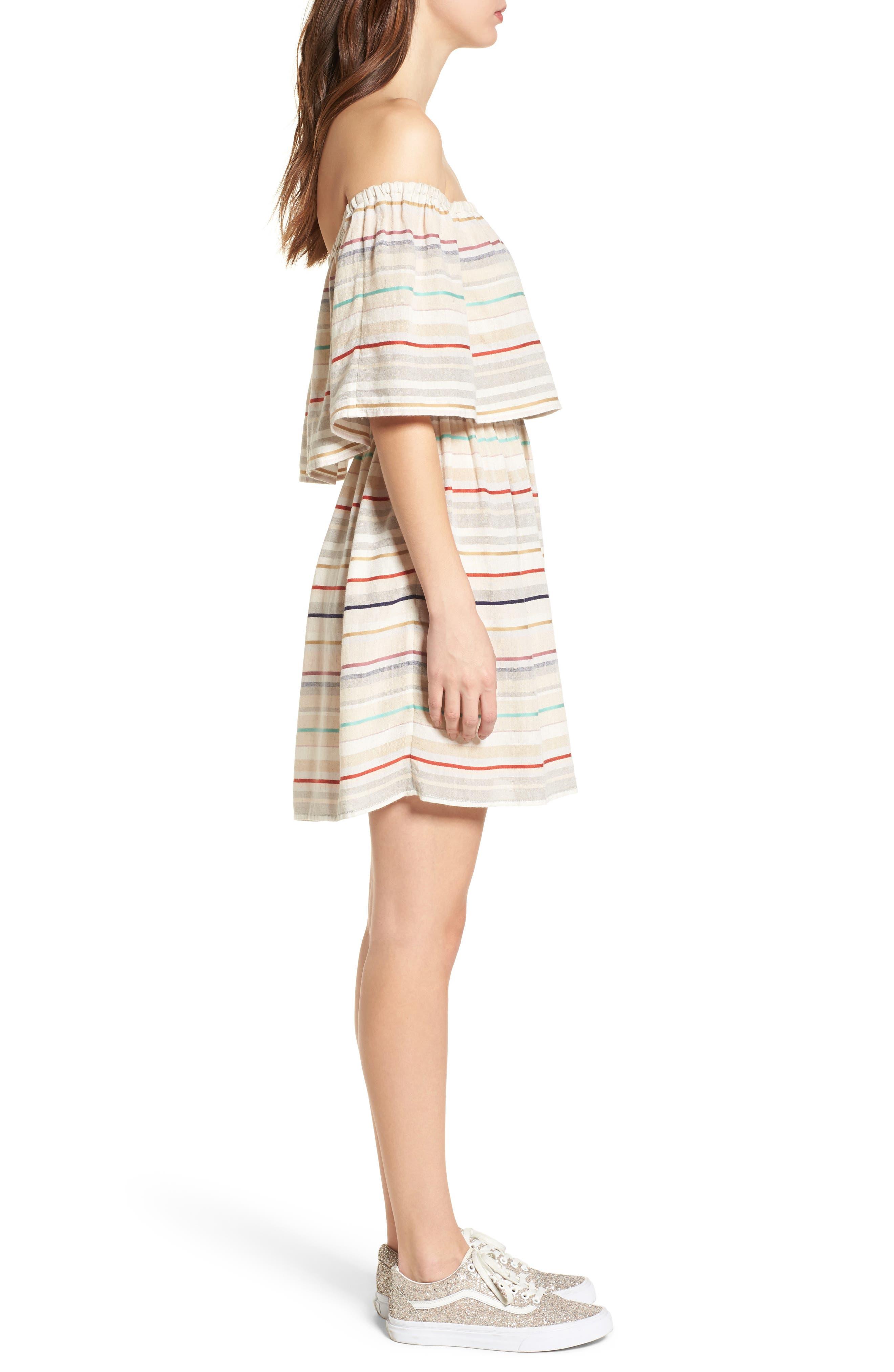 Stripe Off the Shoulder Dress,                             Alternate thumbnail 3, color,                             Beige Nougat Multi Stripe