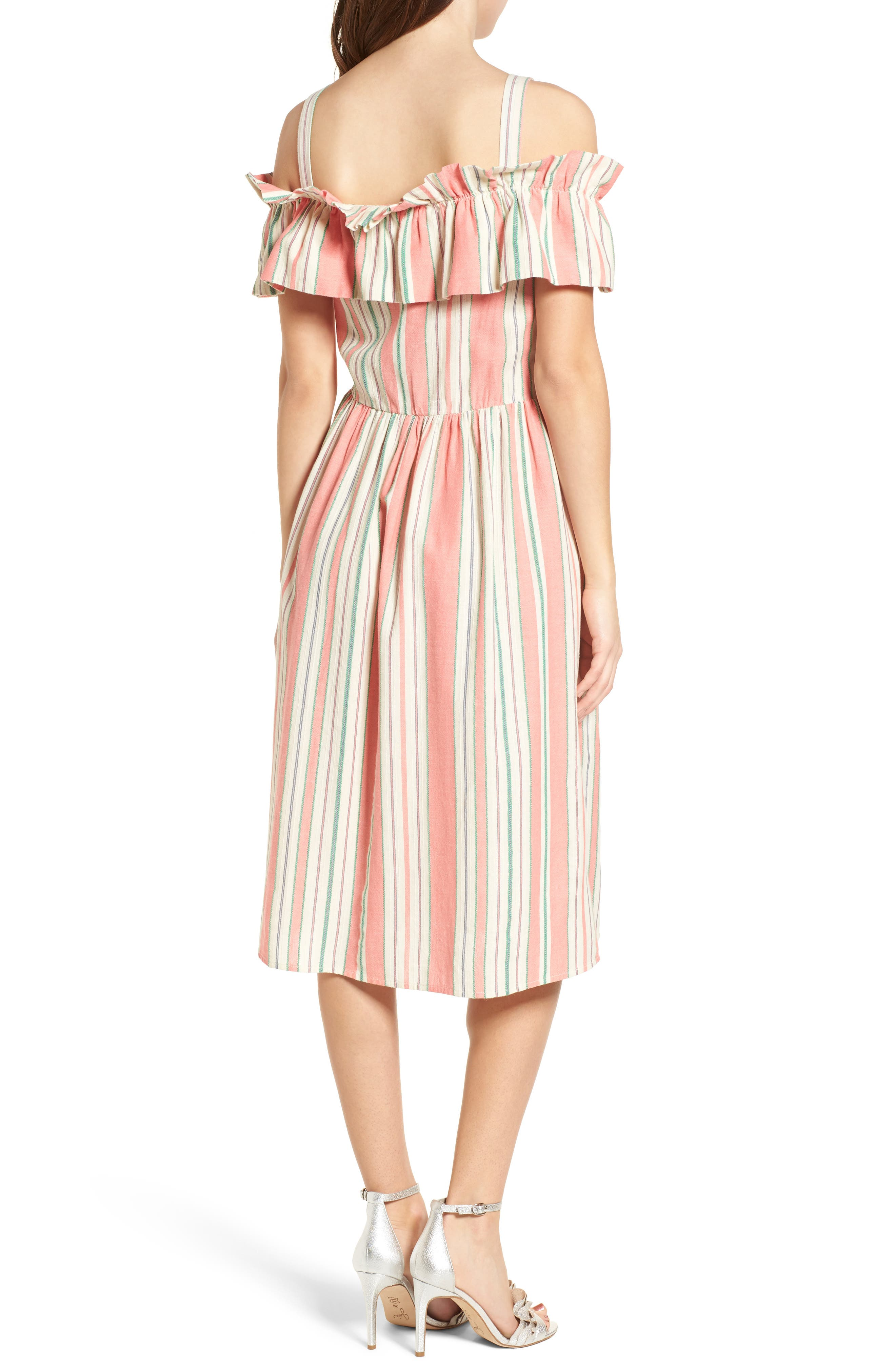 Stripe Ruffle Cold Shoulder Dress,                             Alternate thumbnail 2, color,                             Coral Amber Bold Stripe
