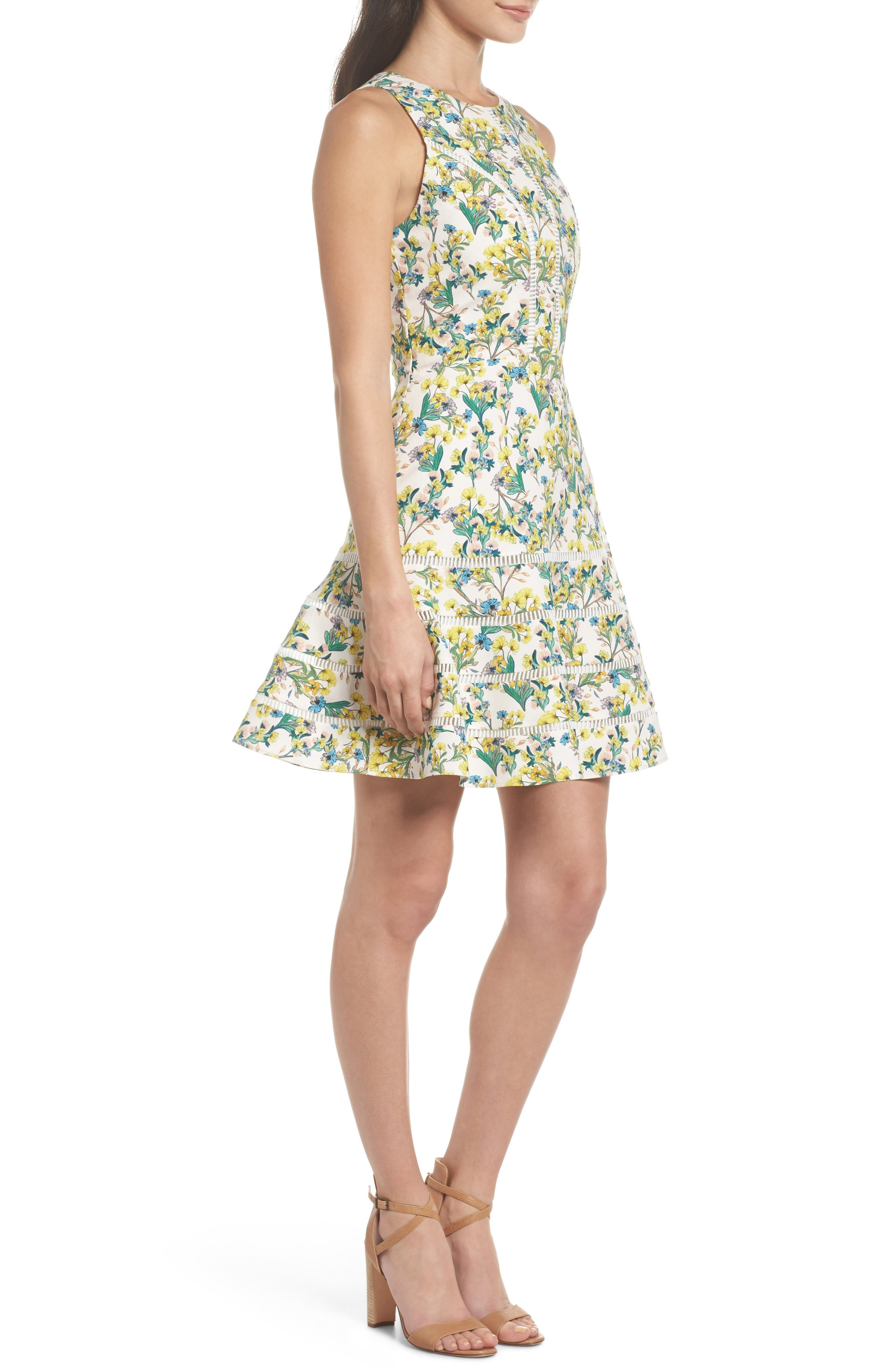Lace Detail Fit & Flare Dress,                             Alternate thumbnail 3, color,                             Ivory Lucy Floral