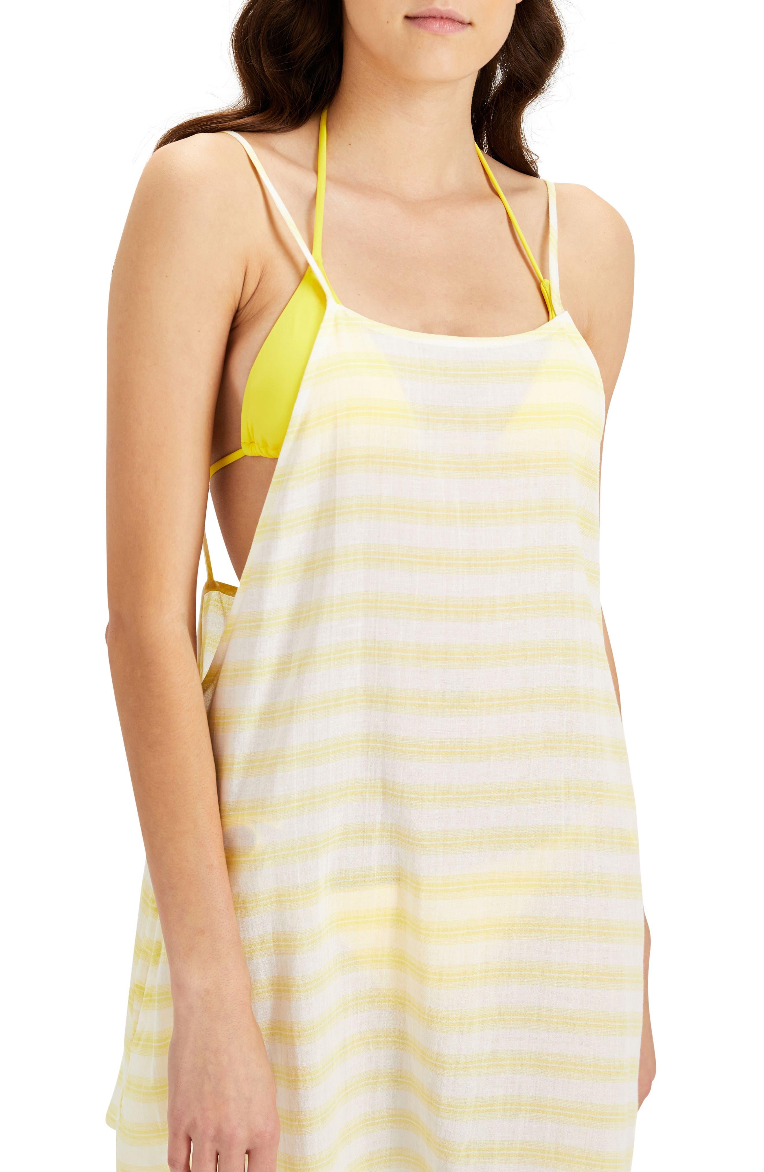 Sasha Cover-Up Shirtdress,                             Alternate thumbnail 3, color,                             Citrus/ White