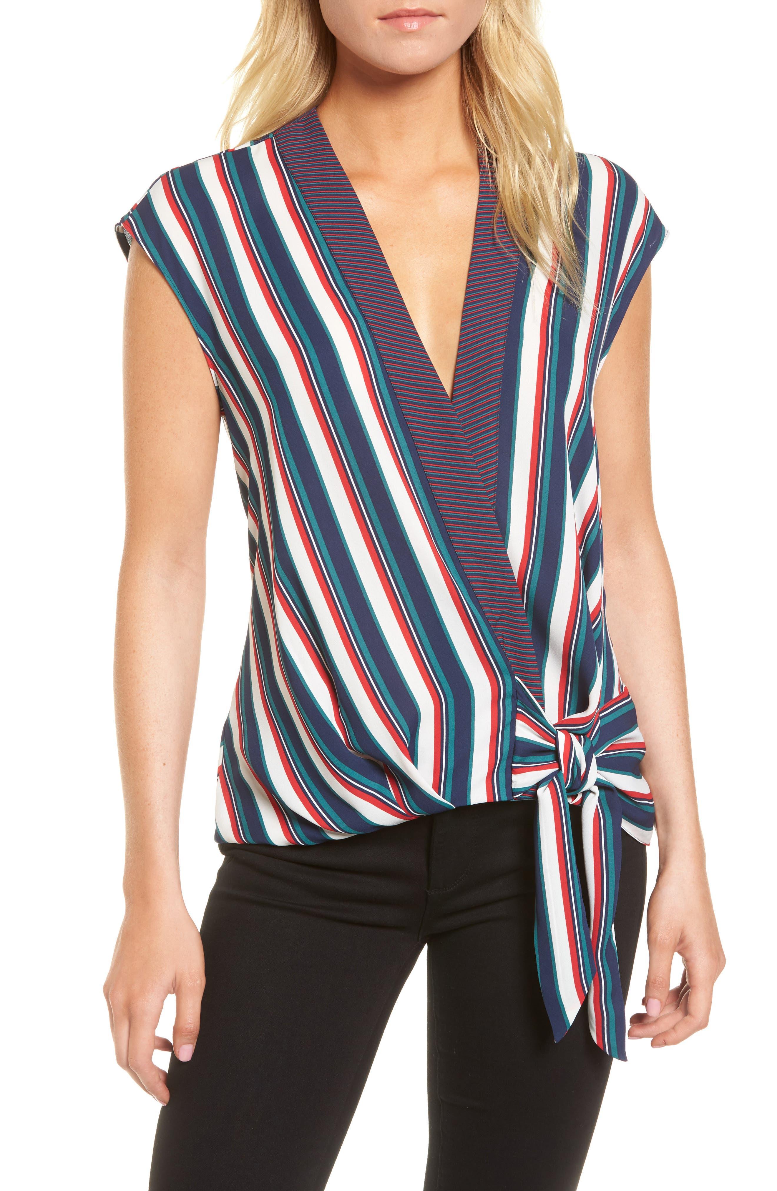 Main Image - Trouvé Stripe Wrap Top