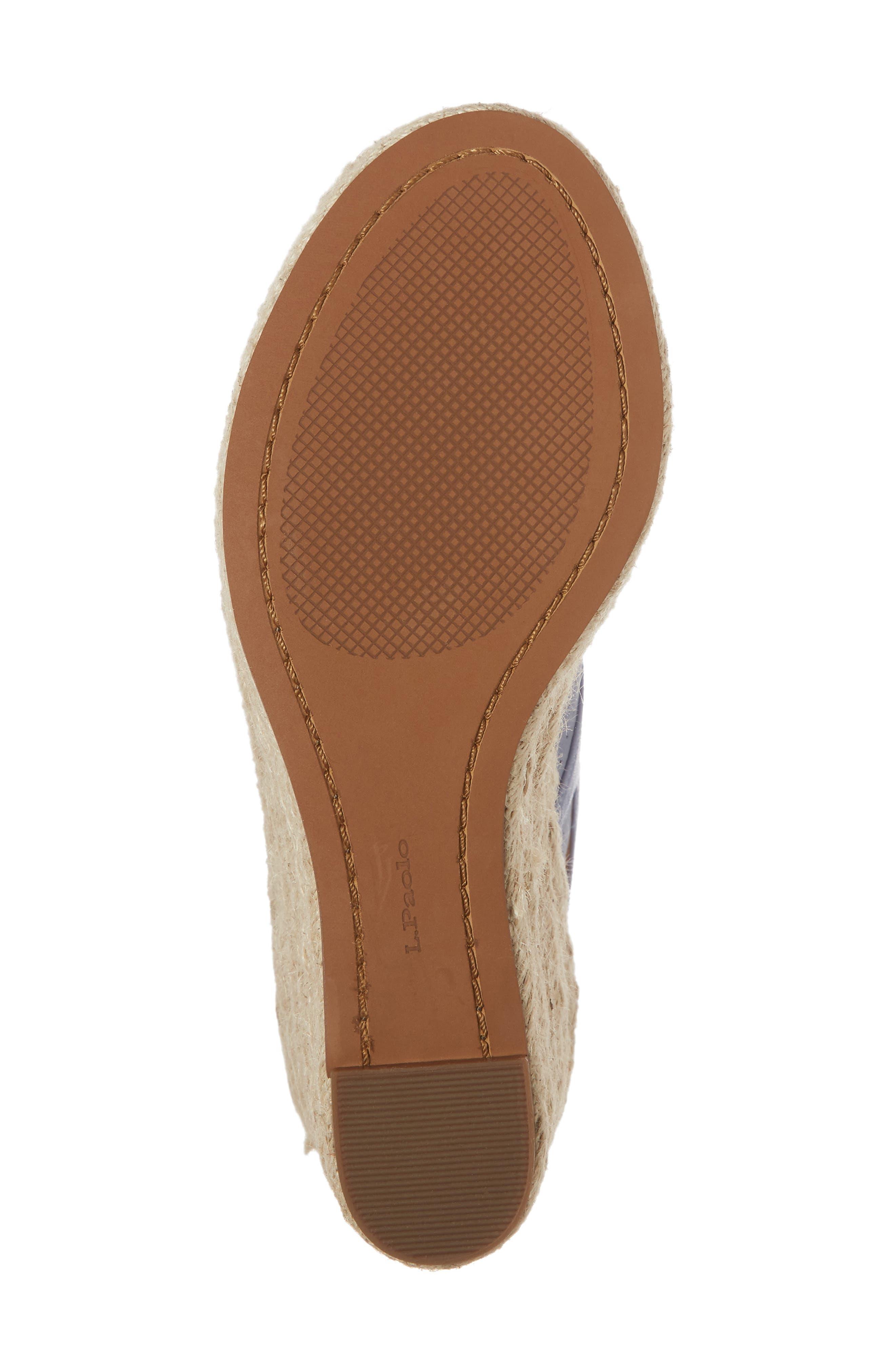 Everly Espadrille Wedge Sandal,                             Alternate thumbnail 7, color,                             Blue Nubuck Leather