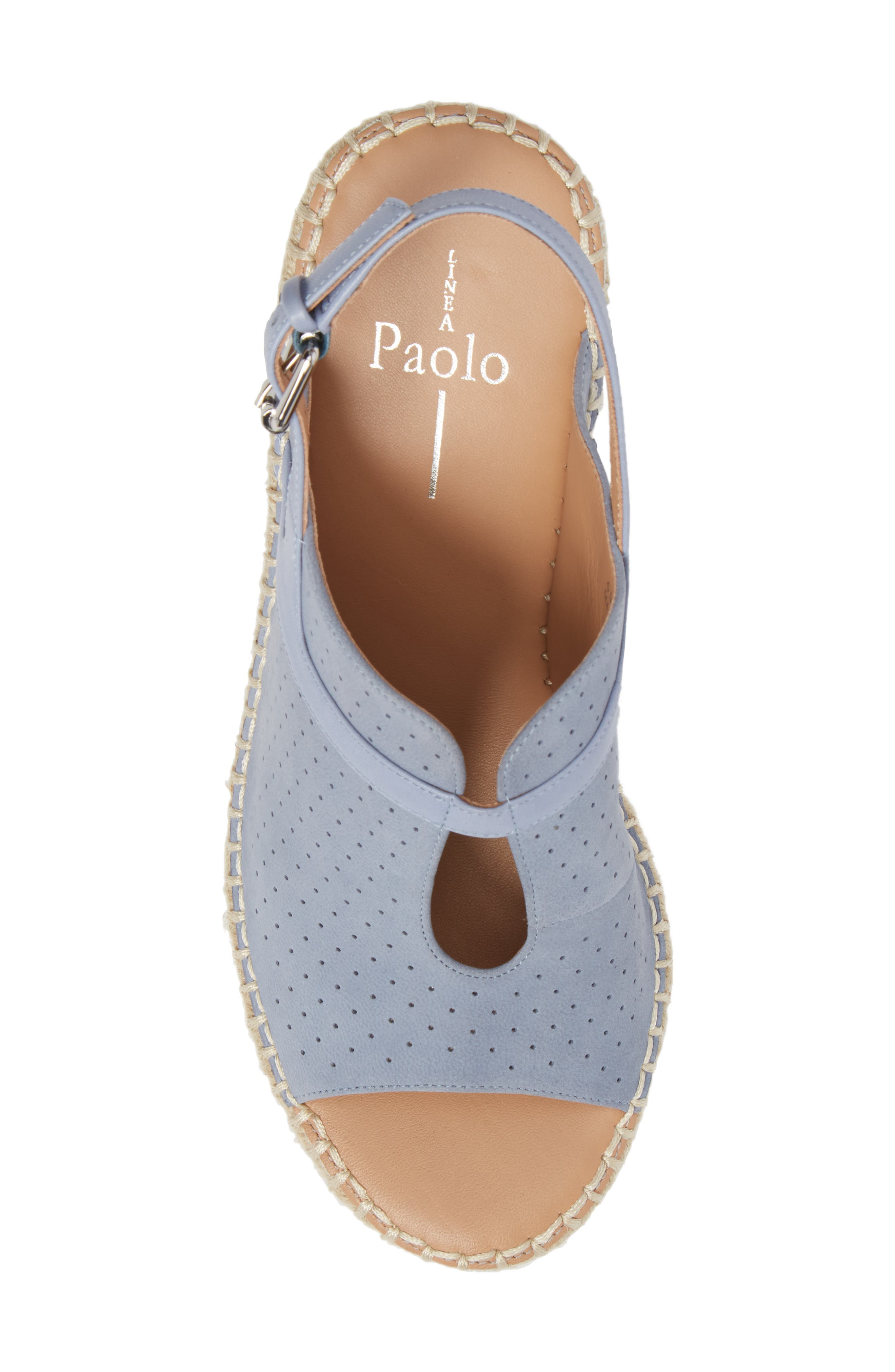 Everly Espadrille Wedge Sandal,                             Alternate thumbnail 6, color,                             Blue Nubuck Leather