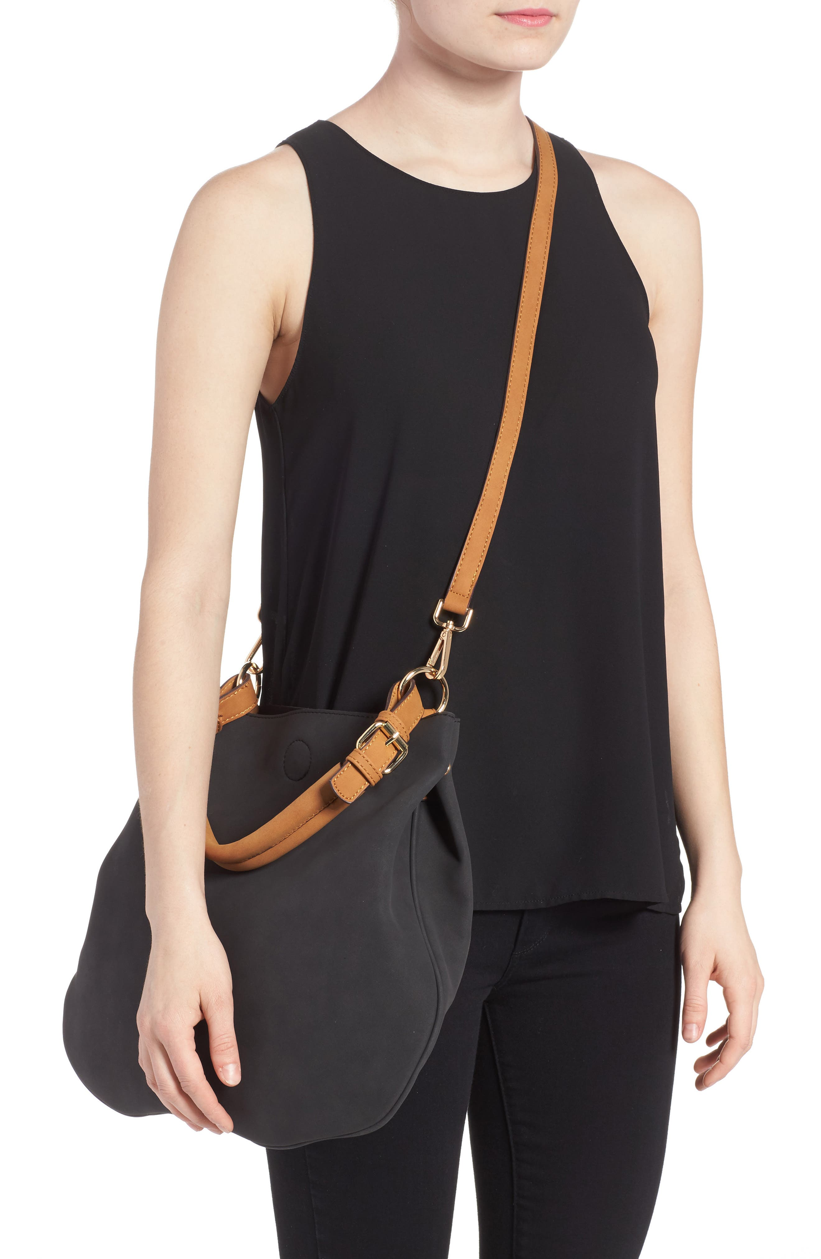 Roman Faux Leather Slouchy Tote,                             Alternate thumbnail 2, color,                             Black Combo