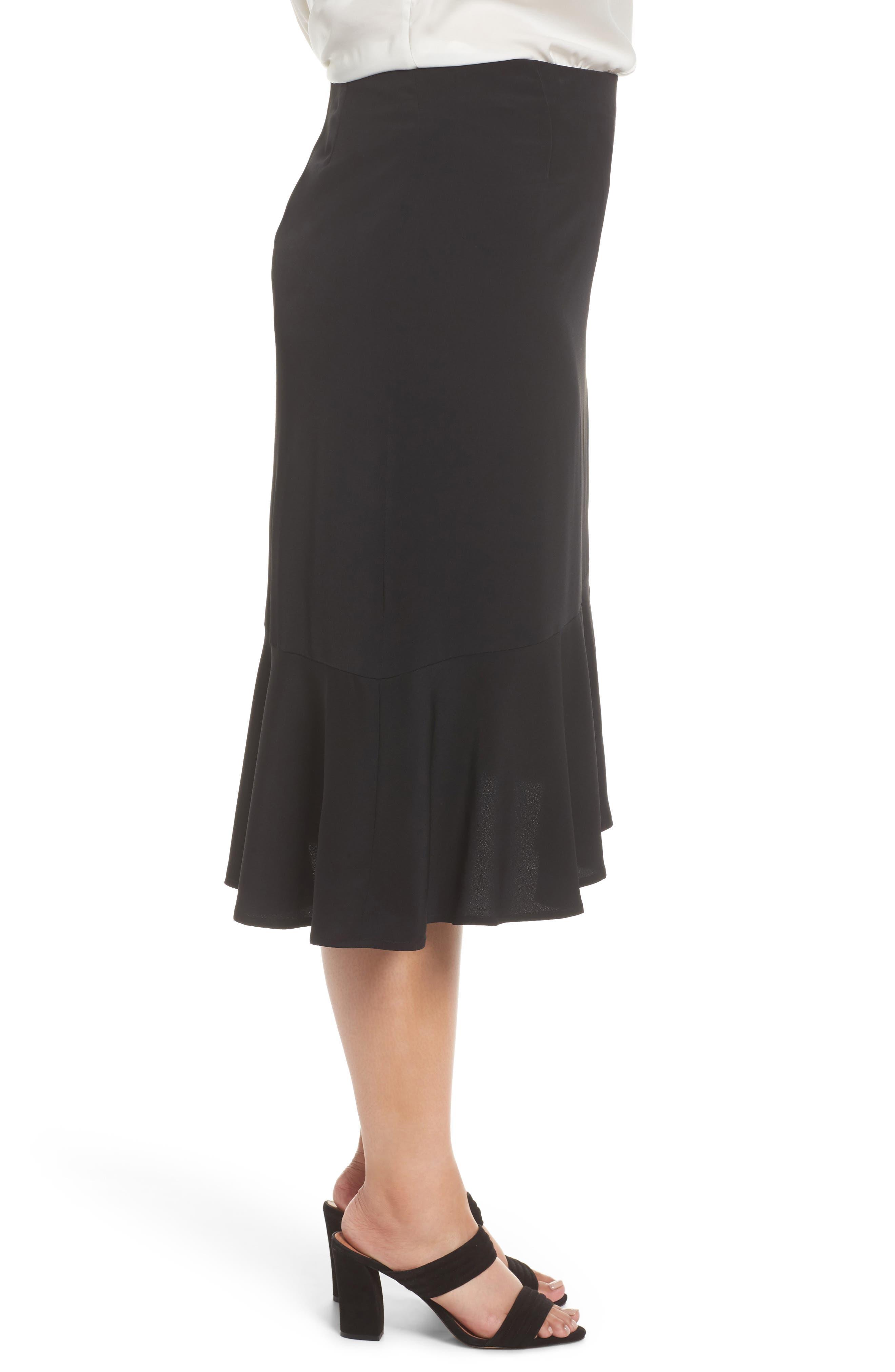 Slit Hem Skirt,                             Alternate thumbnail 3, color,                             Black