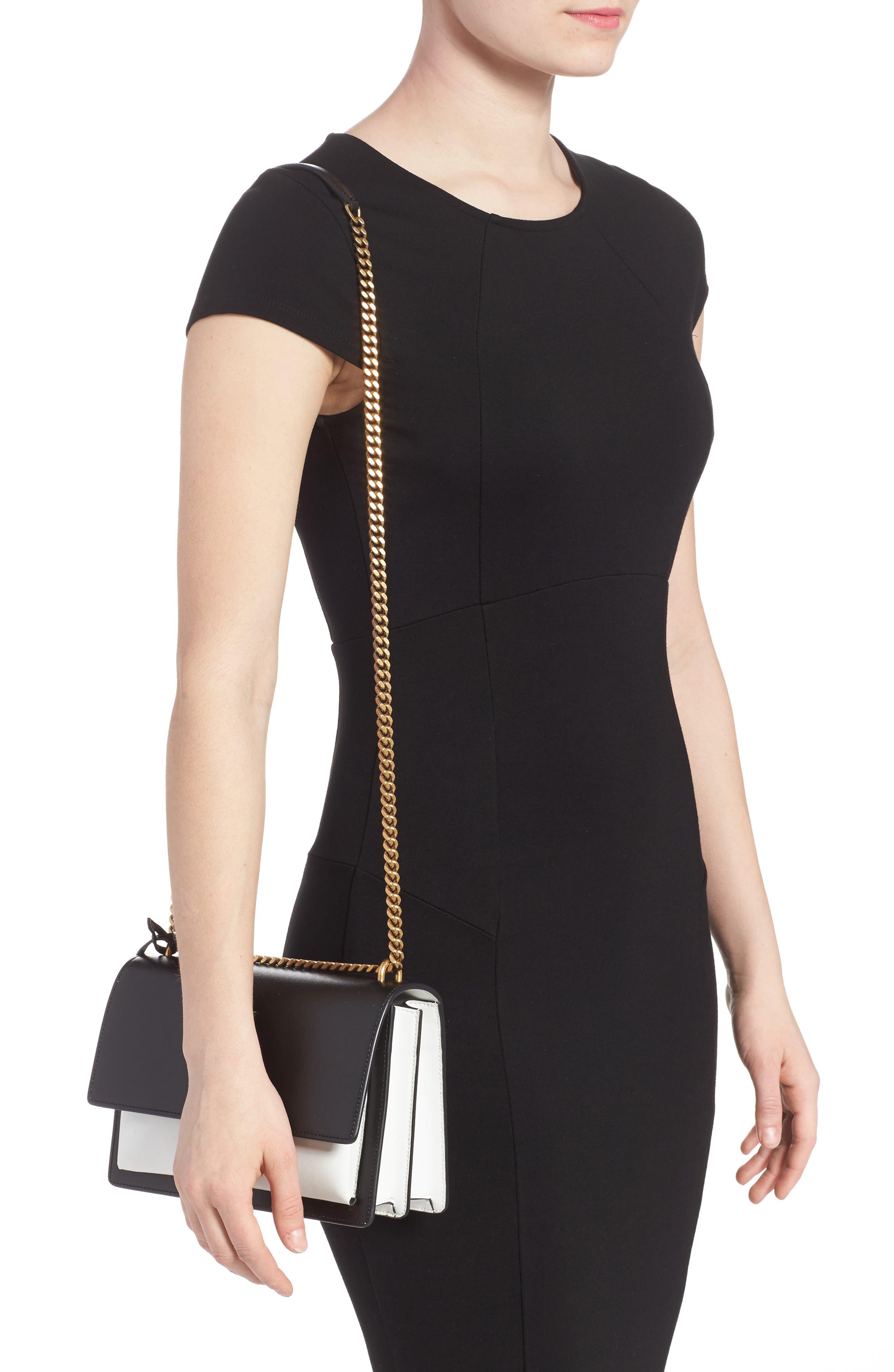 Medium Sunset Leather Shoulder Bag,                             Alternate thumbnail 2, color,                             Black/ White